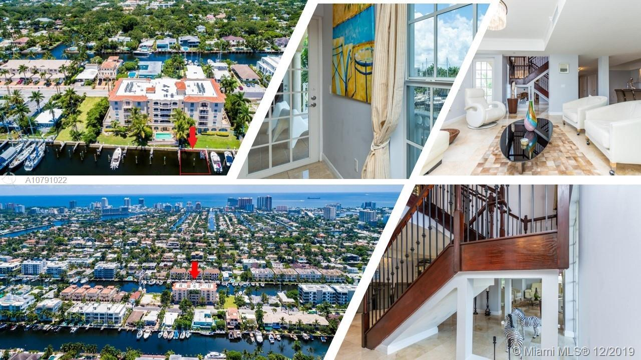FABULOUS WATERFRONT LOCATION & AMAZING VIEWS. BI-LEVEL PENTHOUSE, 3580SF W/4 BALCONIES & 42' DOCK ON EXCLUSIVE LAS OLAS ISLES. BOUTIQUE 14-UNIT BLDG ON CANAL, WALK TO BEACH & LAS OLAS. ENTER LIVING AREA W/MARBLE FLOORS, FORMAL LR & DR, OPEN KITCHEN, FLA ROOM, BREAKFAST AREA & 2 PRIVATE BALCONIES VIEWS OF DOCK, POOL & BEACH SKYLINE. LAUNDRY/POWDER ROOM ON 1ST FL. STEP UP WOOD STAIRS TO 2ND FL TO ALL 3 BR, EACH W/EN-SUITE BATHROOM, CALI CLOSETS & BALCONY. MASTER SUITE-2-WALK-INS, BALCONY, JACUZZI, STALL SHOWER, BIDET & TOILET ROOM & TWIN SINKS. ACCESS TO MASTER ALSO FROM ELEVATOR TO TOP FLOOR. NEST AC & KEYLESS ENTRY. NEW ROOFING. UNDERGOING DOCK/SEAWALL & POOL RENOS. PET-FRIENDLY BLDG HAS GYM, SAUNA, STORAGE, POOL, DOCK & SECURED GARAGE W/2 SPOTS. IMPACT WINDOWS THRUOUT. NO FIXED BRIDGES