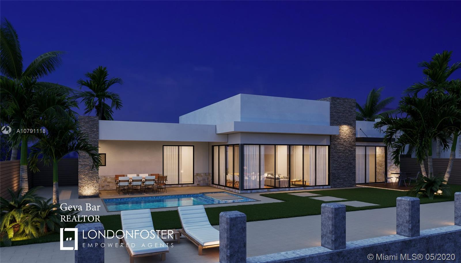 100 FEET ON THE WATER IN CORAL RIDGE! Architecture designed by Steve Brandt, Design includes a  4 bedroom 3.5 bath 2987 living SQFT 2 CAR 445 SQFT garage and 364 SQFT covered patio and 190 SQFT covered entry, and a pool. This modern home is designed with 14 foot ceilings 10 foot sliding glass doors 2 A/C ZONE GAS FOR KITCHEN AND BBQ AND IMPORTED EUROPEAN KITCHEN WITH MANY UPGRADES. 100 foot concrete dock, HOME CAN BE READY TO MOVE IN WITHIN 10-12 MONTHS. This home to be delivered end of 2020.