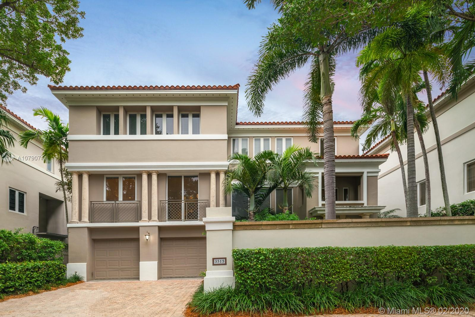 Nestled in the gated Bayshore Villas of Coconut Grove is a 6,972 sq ft NYC Chic three-story home with 2 car garage. Greeted by a triple-height foyer, the first floor opens to the family room, bar, gym/den, and a full bathroom. The elevator or stairs to the second floor lead to a formal living room, formal dining room, half bath, and an eat-in kitchen with walk-in pantry and Wolf and Subzero appliances. The third floor includes an office, two bedrooms with full ensuite bathrooms, master bedroom with sitting area, two walk-in closets, and master bathroom with dual sinks, open shower, and modern tub. The townhome also comes with a private boat slip on Biscayne Bay, plus access to community amenities: tennis courts, heated pool & spa, putting green, and easy access to neighboring parks.