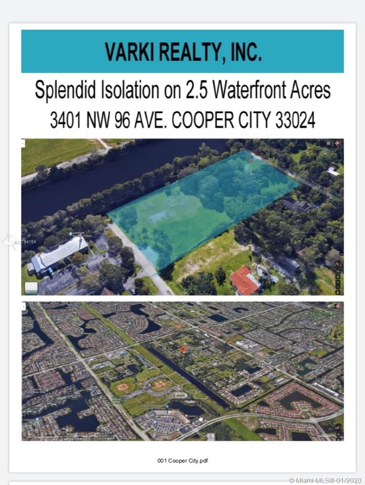 Build Your Dream Home!! Exclusive opportunity to own 2.5 acres of premier lakefront acreage, in the crème de la crème in prestigious Cooper City location.Best school district in Broward County. Lush waterfront landscape with an existing Single family home. Our team of Architects can also help in the design process.This single-owner home sits on a large lot with landscape,It's ready for the next owners to bring it into the 2020.Why are you still reading this? CALL NOW @ Chinni 305-725-2344