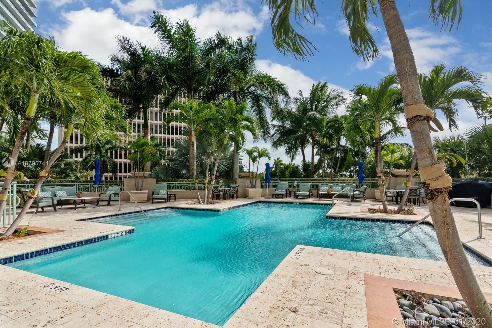 Your opportunity to own at the Elegant and Classic Ritz-Carlton Tower Residences Coconut Grove which offers the privacy of a small boutique building as well as access to the 5-Star amenities at the Ritz-Carlton Hotel next door. Walk or bike to nearby waterfront parks, restaurants and shopping. Close to Miami International Airport and Downtown Miami. Enjoy split master en-suite bedrooms and living area opening unto a private 800 sq. ft. outdoor garden patio perfect for entertaining, gardening and dining alfresco! Unit features elegant entry foyer, marble floors, Poggenpohl cabinetry, custom closets by Innerspace, custom millwork, impact glass and hurricane shutters. The Tower offers 24 hour Concierge, Valet and Guest Parking, Gym and Heated Pool.