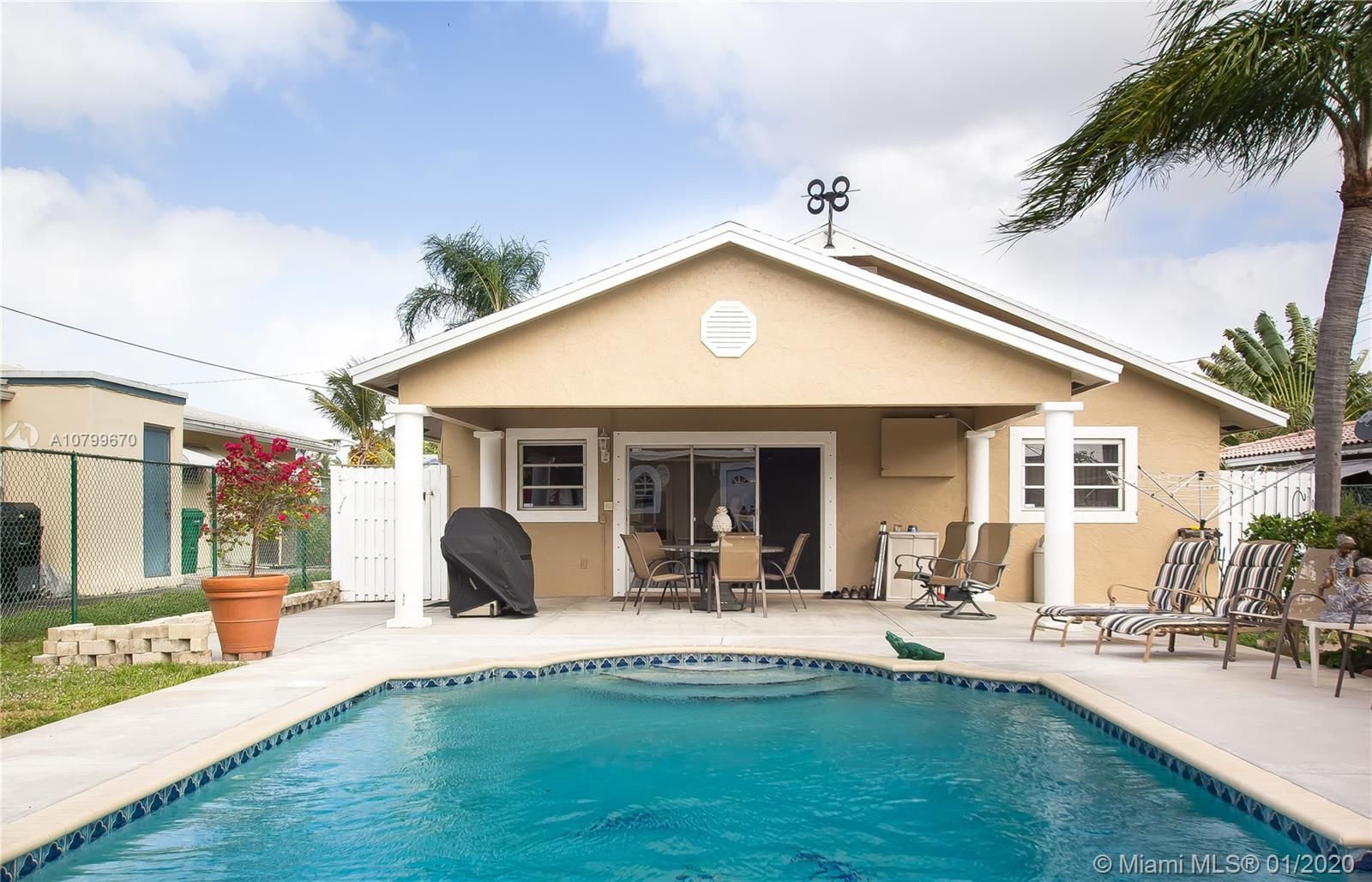 GREAT OPPORTUNITY IN DANIA BEACH. BEAUTIFUL 3 BEDROOM 3 BATH POOL HOME JUST EAST OF US-1 ONLY MINUTES TO THE BEACH. ENTER TO A BEAUTIFUL FENCED IN POOL AREA. LARGE COVERED PATIO WITH GORGEOUS CYPRESS WOOD CEILINGS OVER LOOKING POOL AREA. LARGE FREESTANDING SHED/WORKSHOP/STORAGE (COULD POSSIBLY BE TURNED INTO GUEST HOUSE OR CABANA BATH, THE POSSIBILITIES ARE ENDLESS). EXTERIOR OF PROPERTY FRESHLY PAINTED. HIGH CEILINGS. CROWN MOLDING. TILE THROUGHOUT. OPEN CONCEPT KITCHEN HAS STAINLESS STEEL APPLIANCES WITH CENTER ISLAND THAT OPENS UP TO THE DINING & LIVING ROOM, PERFECT FOR ENTERTAINING. IN-LAW QUARTERS ATTACHED AND OPENED TO HOUSE (3RD BEDROOM, FULL BATH, LIVING AND DINING AREA) OR COULD BE CLOSED OFF, HAS PRIVATE ENTRANCE CAN BE RENTAL OPPORTUNITY. SHUTTERS. NO HOA. A MUST SEE!