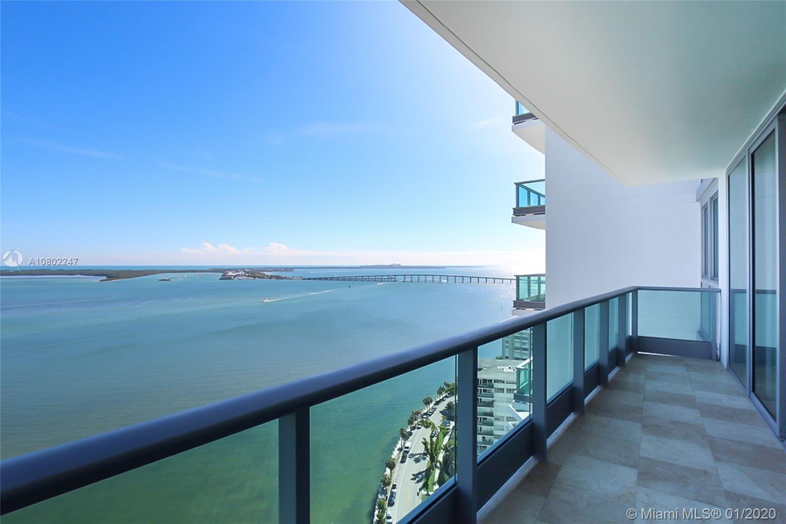 IMPECCABLE UNIT AT sought after JADE RESIDENCES. Large 2 BED + DEN with expansive balcony with breathtaking views to the bay. Extremely private unit . Building offers 5 Star amenities, infinity edge pool, full gym w/spa facilities. Best location on Brickell. Well Managed Bldg. Must see!