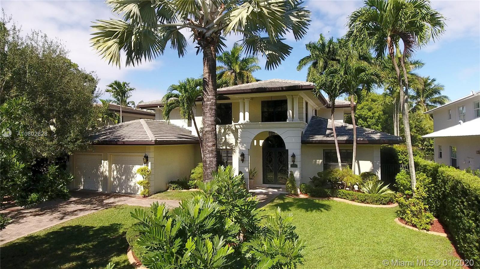 NEW PRICE!!! 2-story modern villa on quiet st in S. Miami. Double iron/glass door walks you into the foyer, formal living rm to the right & formal dining rm to the left leading to the family rm & spacious eat-in kitchen w/SS appliances & granite counters. 1 bedrm w/bath & office that can be converted to a bedrm. Adjacent to the kitchen, there are: butler's pantry, walk-in pantry, laundry & staff quarters. From the family rm, 2 french doors open to the covered terrace & pool area, w/high palms & space for entertainment. 2-car garage. On 2nd floor, the ample landing takes you to the main suite w/2 walk-in closets & beautiful bathrm with 2 vanities, shower & jetted tub. 1 en-suite bedrm & 2+bedrms w/ jack-n-jill bath. All impact doors/windows, marble throughout & wood flrs in 2nd flr bedrms.