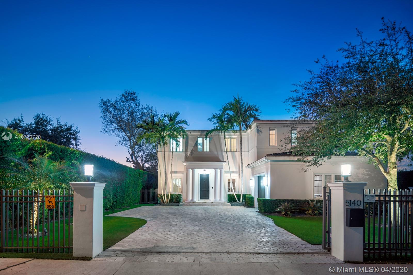 Gorgeous waterfront home located on the prestigious Coral Gables Waterway. It is a stunning contemporary French-inspired chateau on a 9,126 sf lot. The 4BR/4.5BA 4,078 total adjusted sf home includes hurricane impact windows and doors, marble floors, marble and granite countertops, high ceilings with recessed lighting, whole property sound system with zones, 13-camera security system, and wifi extenders. 80' of water frontage, boat lift, and 600+ sq ft Brazilian Ipe dock with waterside seating area give access to Biscayne Bay. Gourmet eat-in kitchen is complemented by an outdoor summer kitchen complete with Lynx grill and side burner, icemaker, refrigerator and more, overlooking a sparkling saltwater pool. Generator with an underground propane tank will run the entire house for 4 days.