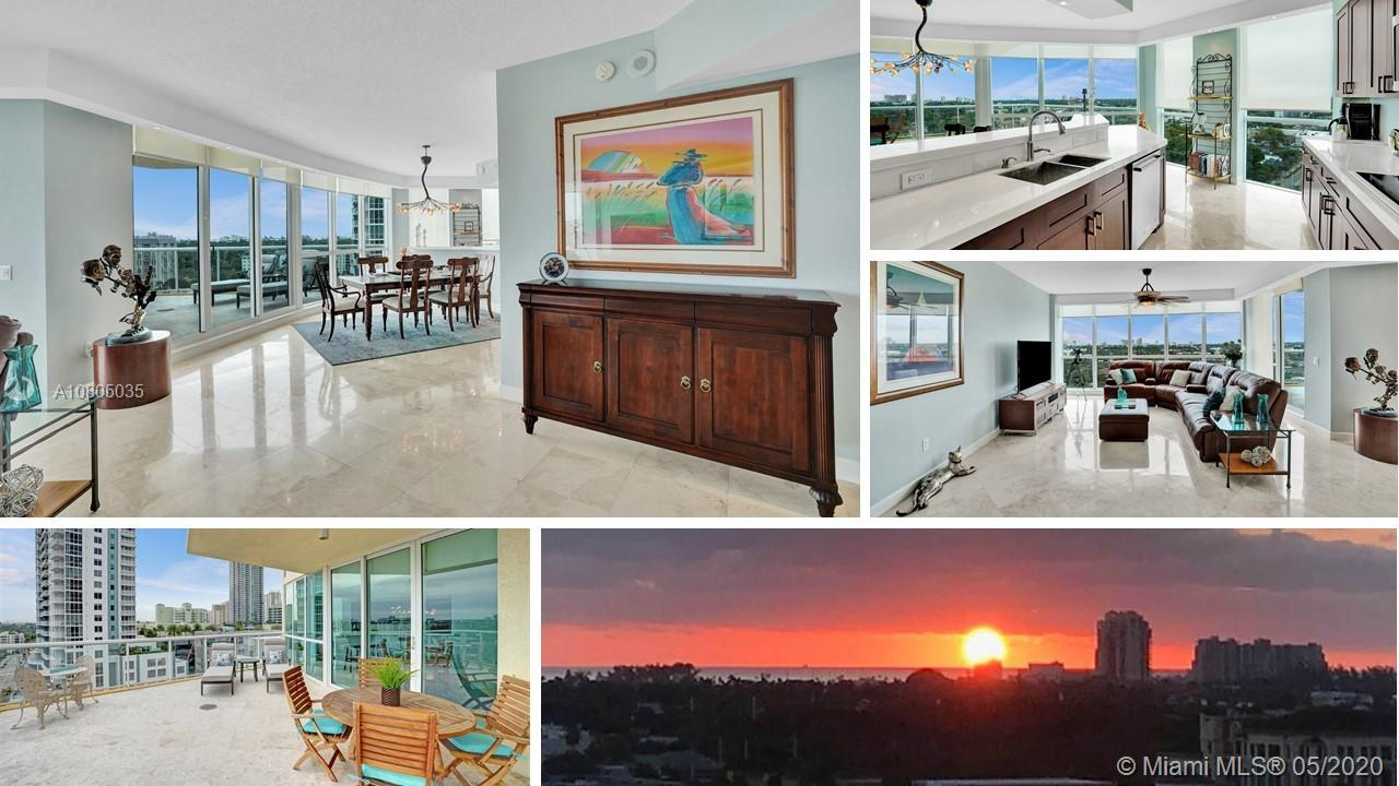 Wake up to gorgeous sunrise views over ocean from luxury canal-front 1730SF Venezia Las Olas condo. Double door entry to marble floors & views. HUGE balcony. $100,000+ in renos to create ideal space for super living -even office added! Bye-bye galley kitchen-hello views from all angles in chef's open dream space. Double ovens, marble counters, wood cabinets, pullouts, counter seats, lots of work space & bar area w/wine fridge. Master Suite w/double glass doors, blackout shades, porcelain floors, walk-in closet w/Elfa Shelf System, linen closet, 2 sinks, big shower & storage. 2nd BR w/ensuite bath & walk-in w/built-ins. Laundry & powder room. Impact windows. New AC. No smoking, pet-friendly boutique bldg. Lobby reno underway. Pool & gym. 2 garage spaces w/BIG storage room adjacent.