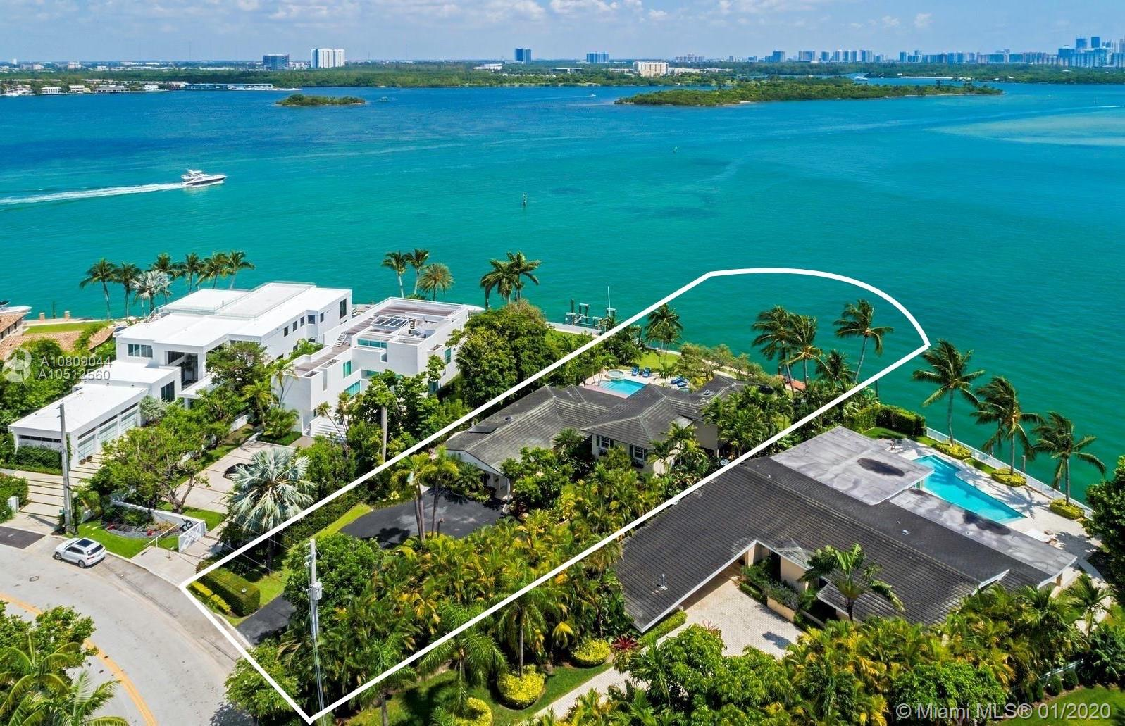This lot is the best and biggest lot on the market in Bay Harbor! The extraordinary estate sits on a 20,691 square-foot pie-shaped lot. It has the most expansive open bay views in Bay Harbor. It boasts it's 120 linear feet of breathtaking waterfrontage that overlooks Biscayne Bay and the Sunny Isles skyline. Enjoy exclusive views with this home's floor to ceiling windows which offer beautiful natural light all day because of its northern exposure. Renovate this home to perfection or build your dream home in Bay Harbor, walking distance to shops and beaches.