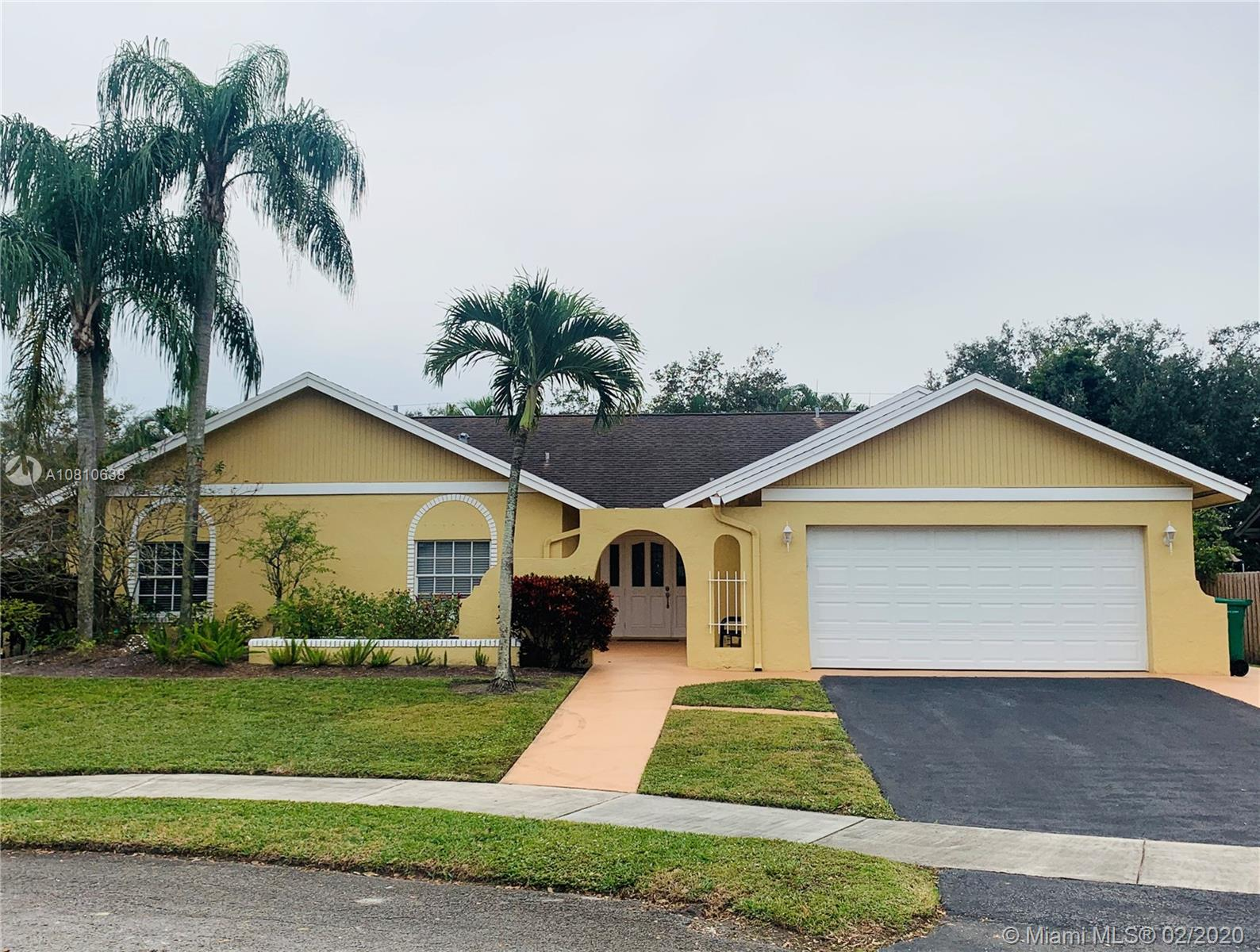 BEAUTIFUL SINGLE FAMILY HOME LOCATED IN THE DESIRABLE FLAMINGO GARDENS IN THE HEART OF COOPER CITY ON A CUL-DE- SAC WITH POOL AND JACUZZI, 4 BEDROOMS 2 FULL BATHROOMS, 2 CAR GARAGE, NICE KITCHEN, WOOD CABINETS, GRANITE COUNTER TOPS, LAMINATED FLOORS IN KITCHEN, DINNING ROOM AND LIVING ROOM, CARPET IN THE BEDROOMS, UPGRADED MASTER BATHROOM WITH JACUZZI, UPGRADED SECOND BATHROOM, WOOD FIRE PLACE, BRAND NEW A/C UNIT, 2 IMPACT WINDOWS AND HURRICANE SHUTTERS, NEW HURRICANE APPROVED GARAGE DOOR, NO HOA FEES, A+SCHOOL DISTRICT, MINUTES AWAY FROM I-75, SHOPPING CENTERS, RESTAURANTS, PARKS AND MEMORIAL WEST HOSPITAL.