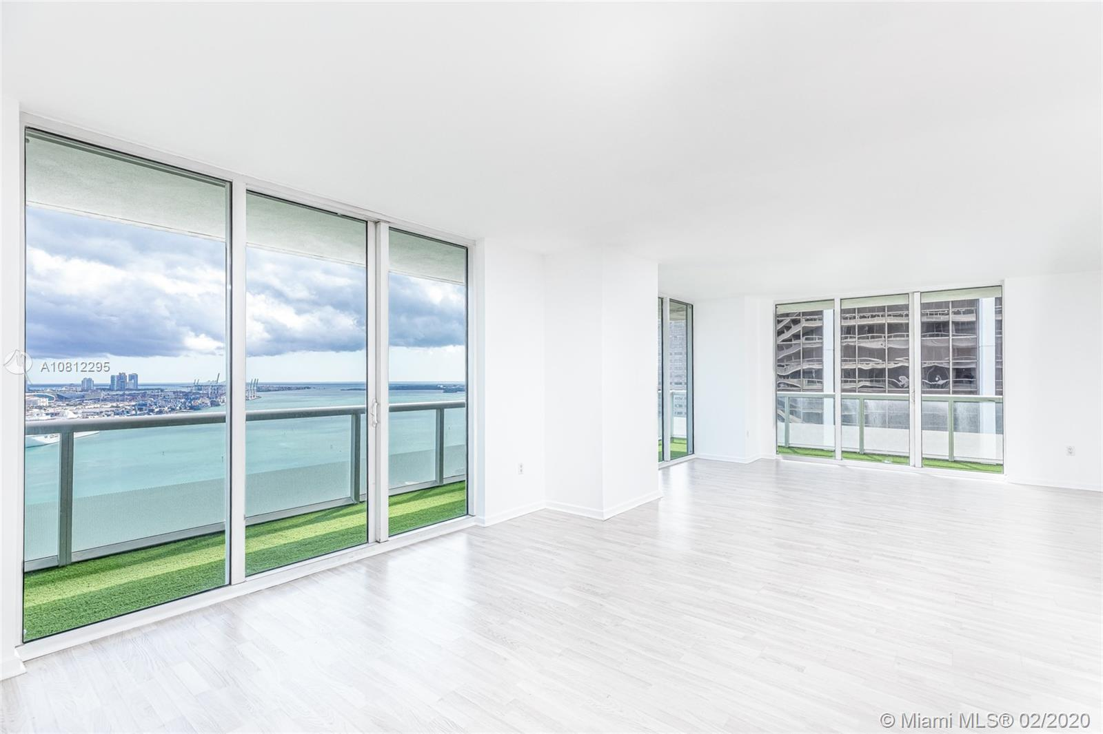 Enjoy unobstructed views of Biscayne Bay, Port of Miami and Miami Beach from the L-shaped balcony. This is your chance to live in 50 Biscayne at a reasonable price. Pre-wired smart building boasts a spa, meditation room, pool and fitness center among other amenities. CURRENTLY RENTED AT $3700 UNTIL 10/01/2021