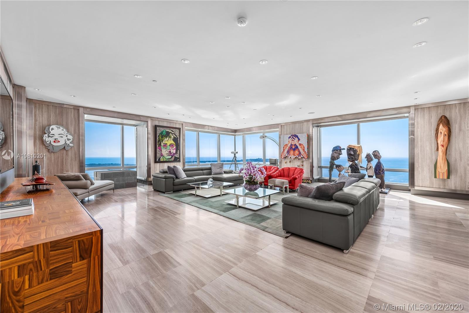 Live at the world class Four Seasons Residences in this home in the sky in the rarely available f line. Soaring 62 stories high, the views truly take your breath away. Exquisitely sophisticated finishes and sweeping views of Downtown Miami, Biscayne Bay and the Atlantic ocean, this 3,582 sf residence boasts dramatic stone walls, 2 private balconies, custom-designed gourmet kitchen, a fabulous principal walk-in closet that resembles a high-end boutique, bathrooms with floor-to-ceiling marble, and views from every room. Enjoy living at the top of the world at one of Miami's most exclusive addresses. Four Seasons amenities include: doorman, 24hr valet, concierge, in-residence housekeeping, Equinox fitness center, spa, pool and electric car charging stations.