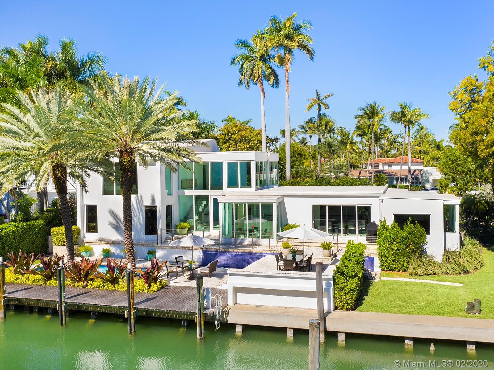 With spacious interiors and large surrounding greenery, this stunning Miami Beach waterfront home includes 5 Bed / 4.5 Bath situated on a large 14,875 ft lot with 177 ft of waterfront. Constructed with contemporary architectural design, this 4,049 sq. ft. home features an expansive open living area with natural light everywhere, silver travertine floors, gourmet eat-in kitchen, customized stainless-steel staircase, and crema marfil marble throughout second story floors. Other amenities include floor-to-ceiling windows, a keystone terrace/patio for entertaining, an expansive backyard, a sparkling pool, and a private dock! Located on coveted gated Sunset Island 3, this exclusive home is within easy walking distance from the stylish Sunset Harbour neighborhood.