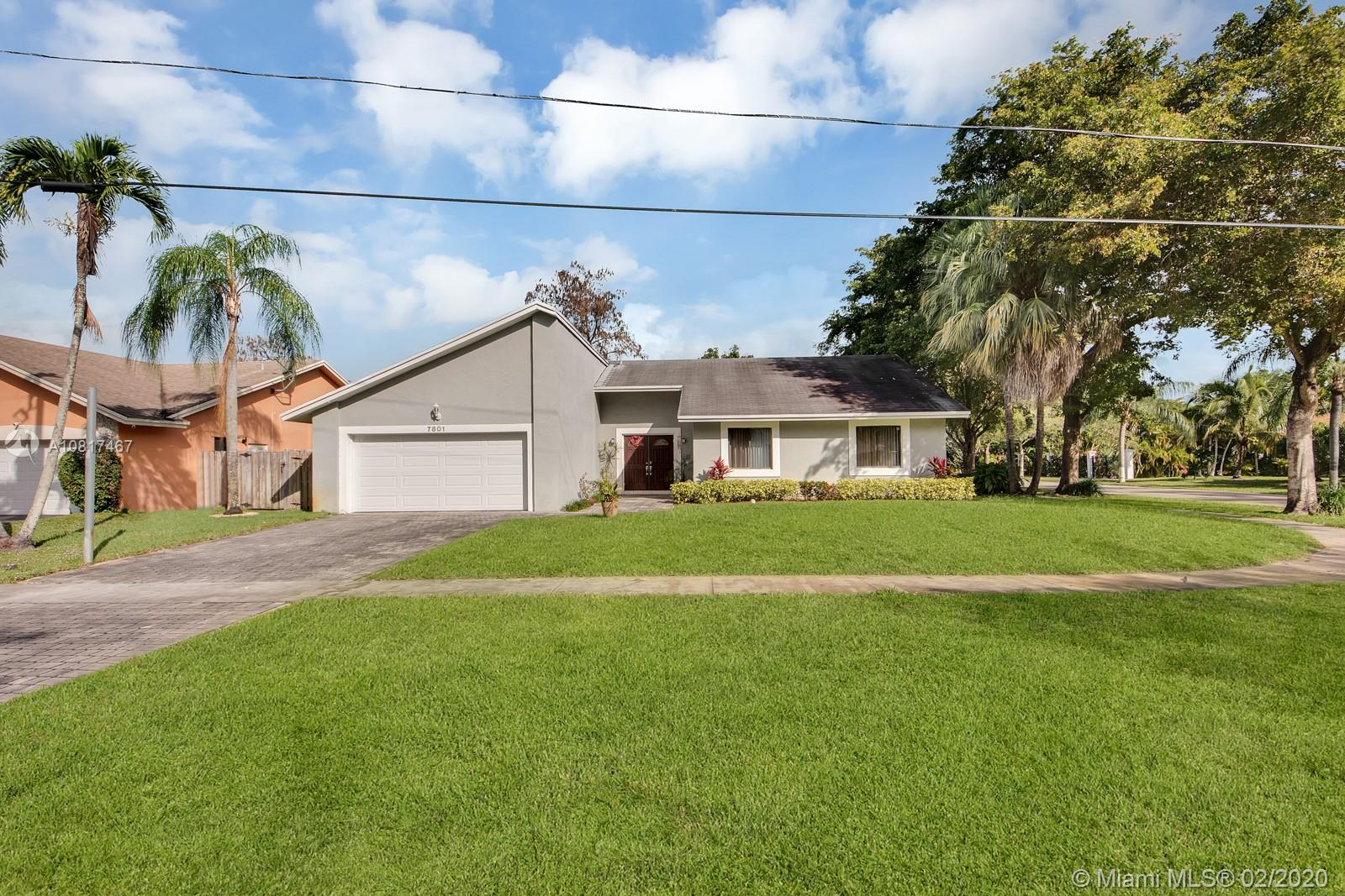 Amazing One Story Corner Home 3BR/2BA. Across from beautiful Veterans Park in West Broward. Perfect for families and entertaining. Great split floor plan with an Interior Patio. Large fenced yard with plenty of room for a pool and/or playground. Two car garage. Great Family Area. No HOA fees!