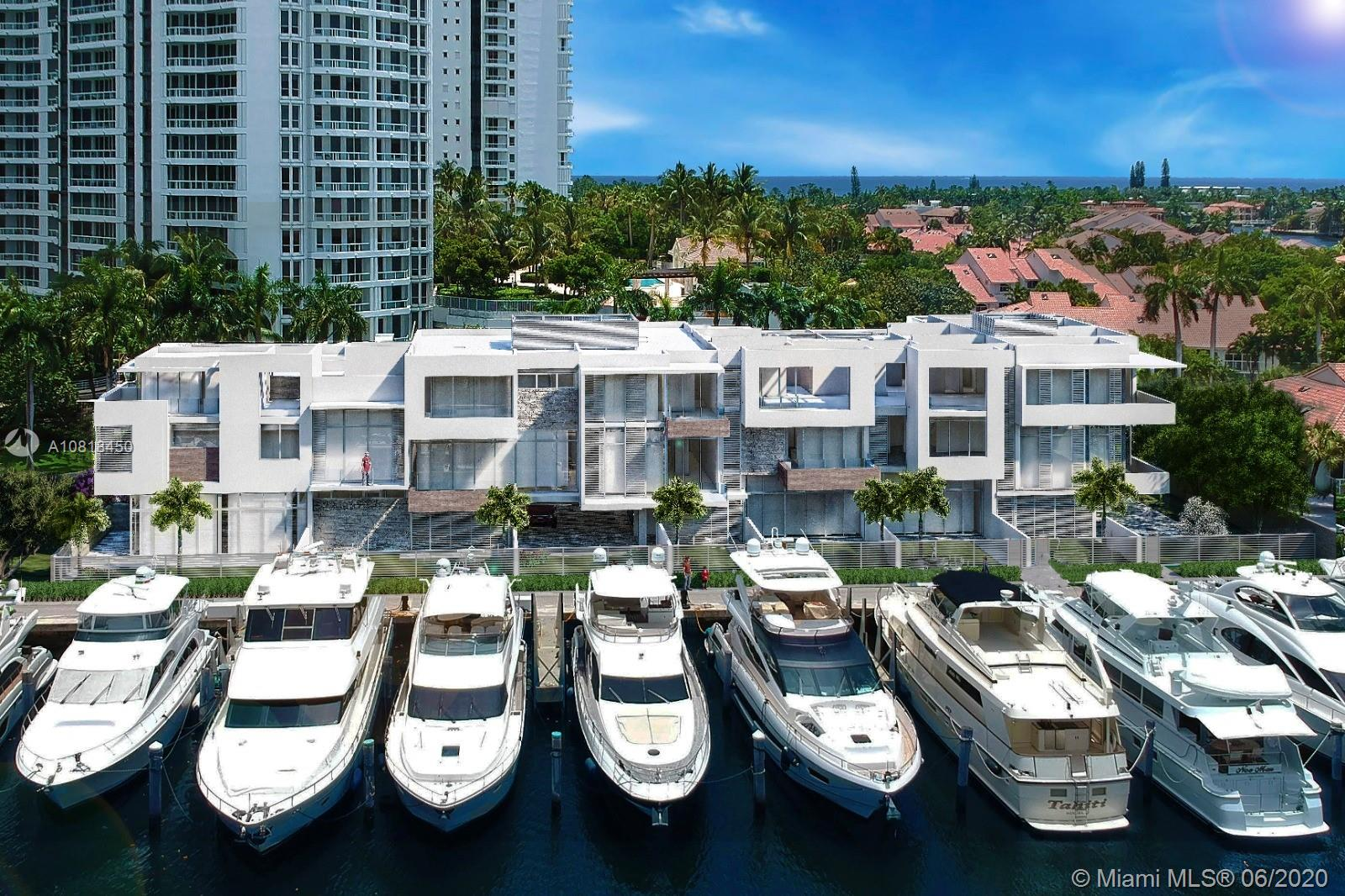 New Waterfront Townhome boasting  3,680 interior sqft and a total of 4,981 sqft. Located at The Point in Aventura, this waterfront residence will be delivered this summer with Interiors By Steven G. custom finishing, Mia Cucina kitchen, and bath with Italian cabinetry, Subzero and Wolf appliances, porcelain floors throughout, 12-foot ceiling heights in living room, and outdoor patios. TH has a large den on rooftop with full bathroom and walk-in closet. Owners enjoy a 25,000 SF state of the art Club & Spa, fitness center, Spa Café, and lighted tennis courts. Boat dockage also available. Located near the new Aventura Charter High School.