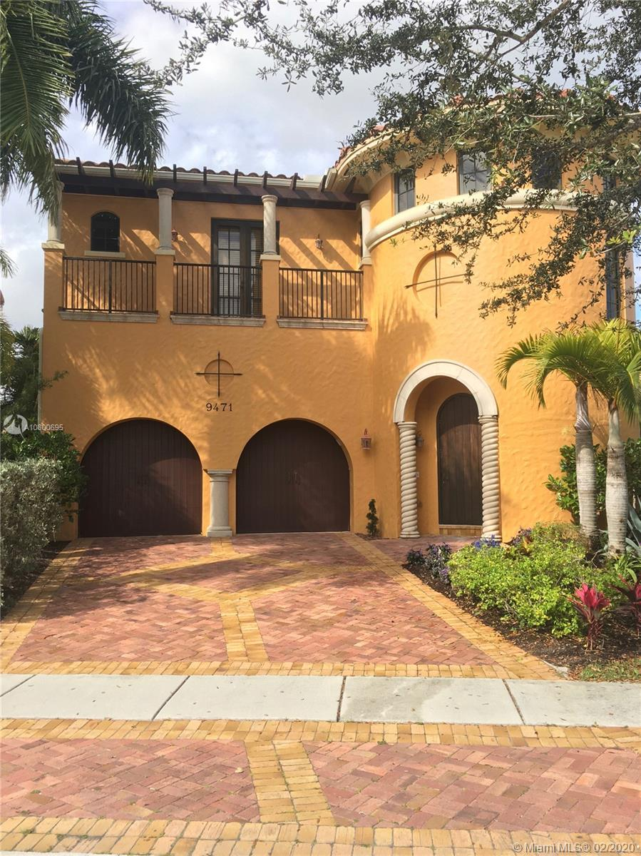 """This stately Italian Provincial style home sits on a beautifully treed golf course lot.The rarely available  model includes an extended ground floor mstr suite w/ French doors lining the entire back of the home, ground floor genuine Maple hard wood, builder's select Kitchenaid appliance package with 42"""" cherry wood cabinets, custom panel refrigerator, built in stove pot filler and lush granite counters.Luxurious mstr bath has marble flooring and shower walls, separate sink areas, his and her shower heads and Jacuzzi tub.  Custom wrought iron and mahogany balustrade leads upstairs to two addt'l bedrooms-one with French doors leading onto a private balcony.Freshly painted interior w/2 new smart thermostats for maximum energy efficiency. Hurricane impact glass and doors throughout."""