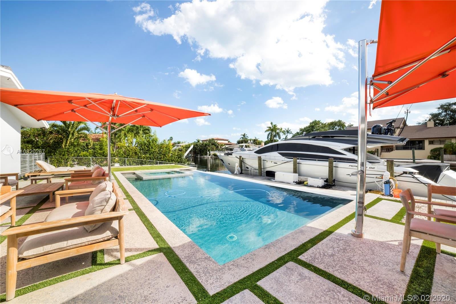 Fully updated & renovated home in Gables by the Sea, known as a boater's hideaway. On a highly desirable deep wide canal 110' ft of water frontage, new seawall and newly installed boat lift up to 30k pounds. NO BRIDGES TO BAY! Reach Biscayne Bay under 5 mins. 3442 sq ft liv area, 6 bedrooms,3 full bathrooms. 11,500 sq ft lot. New Roof(2019) saltwater heated pool & jacuzzi.2 car garage+large driveway fits 6-8 cars, lush & well manicured landscape, hurricane impact windows & doors, electronic blinds, Smart Home, marble floors in common areas & woodfloors in bedrooms, Chef's kitchen w/gas stove top, wine cooler,& icemaker. Secure community w/guard-gated entrance, pedestrian+pet friendly streets w/neighborhood park within, great public & private schools. Tenant occupied until June 2021