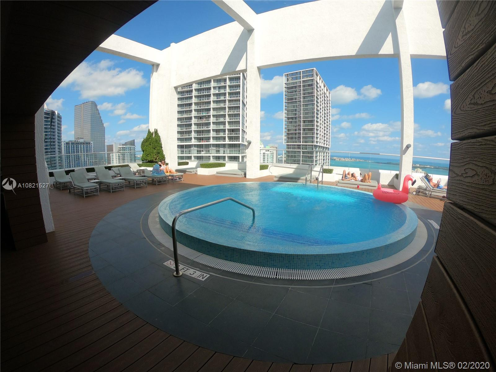 Beautiful and spacious 2 Bed 2 bath furnished with upgraded new wood laminate floors all throughout. European kitchen with stainless steel appliances and quartz countertop. Great full service building with plenty of amenities including a rooftop pool and more. Best location on Brickell Ave walking distance to Downtown and Brickell Citicentre.