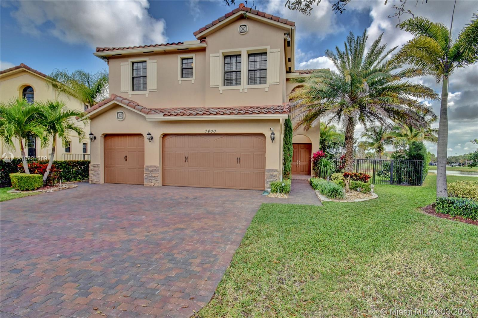 Come and live the Parkland lifestyle in this beautiful 5 bedroom 4 bath home.  The home is on a large cul-de-sac, lake front lot, with gorgeous views. The home features open living areas down stairs with tile throughout.  The large kitchen has stainless steel appliances. The master bedroom has an expansive walk in closet with built ins. The upstairs has wood floors. The travertine patio is large enough to host any bar b que and your guests will love the view. There is also a summer kitchen and a heated pool. The garage has professionally done epoxy on the floor and gladiator shelving that stays. Dual zone ac, one unit is a year old. This beautiful neighborhood has a low HOA of 165 per month.  An offer to rent has been accepted.  Property will have a tenant June 1.