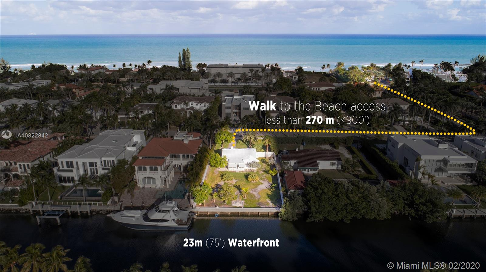 One of a kind land in Golden Beach, with 75 ft of water frontage. Conveniently located less than 5 minutes walking to the beach. Perfect land to build your dream house!