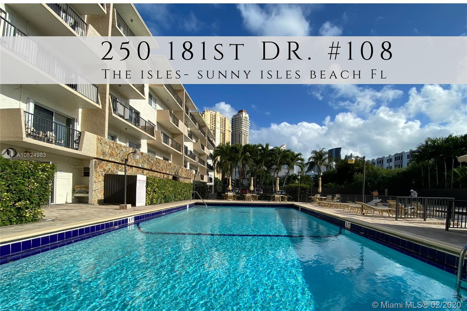 250  181st Dr #108 For Sale A10824983, FL