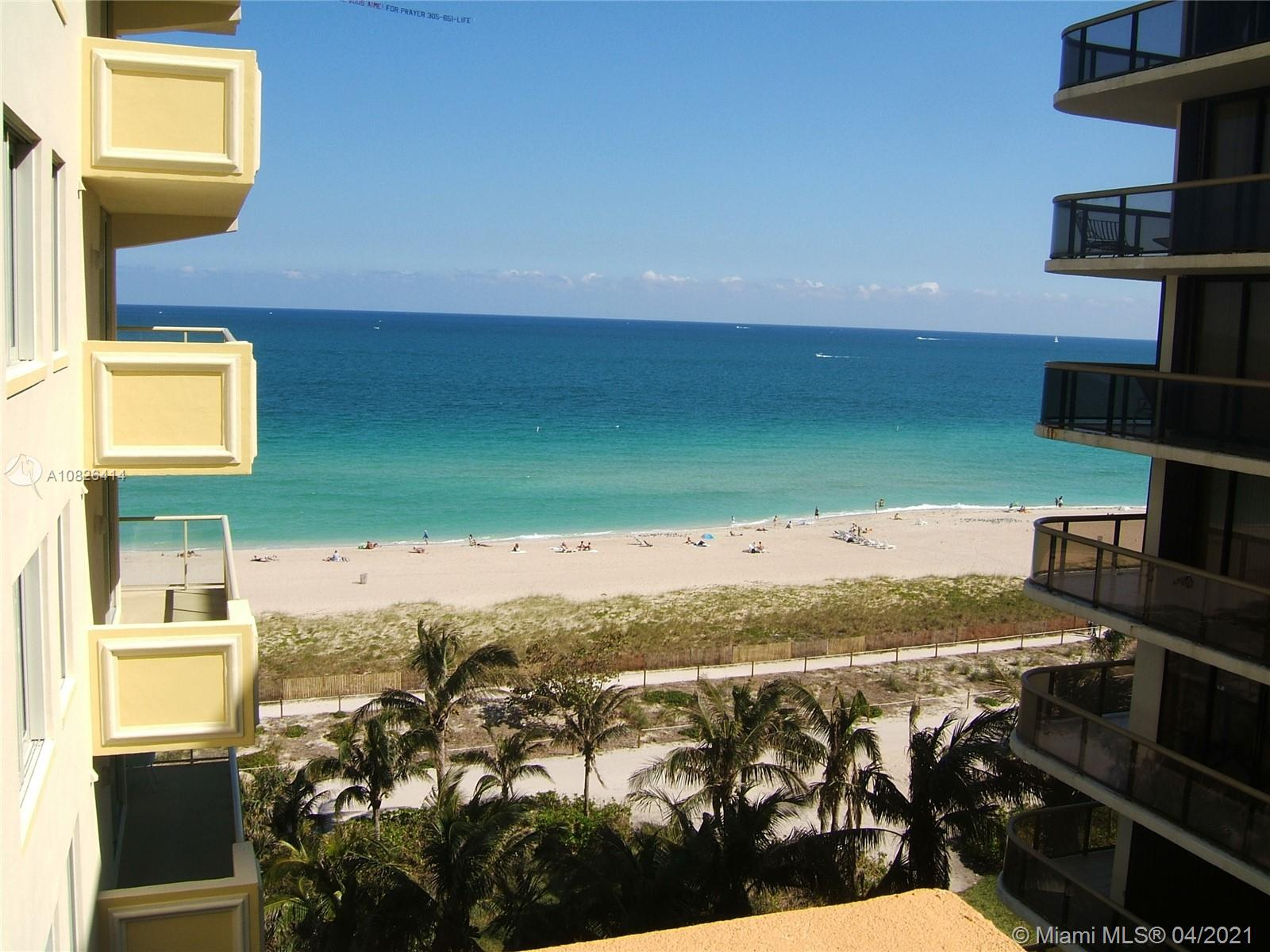 OCEANFRONT LUXURY CONDO WITH OCEAN VIEWS. 1 BEDROOM + DEN EASILY CONVERTIBLE TO SECOND BEDROOM, 2 COMPLETE BATHS, MARBLE FLOORS, EUROPEAN STYLE KITCHEN WITH STAINLESS STEEL APPLIANCES AND GRANITE COUNTER TOPS. WASHER & DRYER INSIDE UNIT. PRIVATE BEACH, POOL, HEALTH CLUB, CONCIERGE AND VALET 24HS. WALKING DISTANCE TO SHOPS, MARKET, RESTAURANTS. 2 BLOCKS FROM BAL HARBOUR SHOP. FANTASTIC OPPORTUNITY!  PERFECT FOR VACATIONS! VERY EASY TO SHOW. CALL AGENT FOR MORE DETAILS.