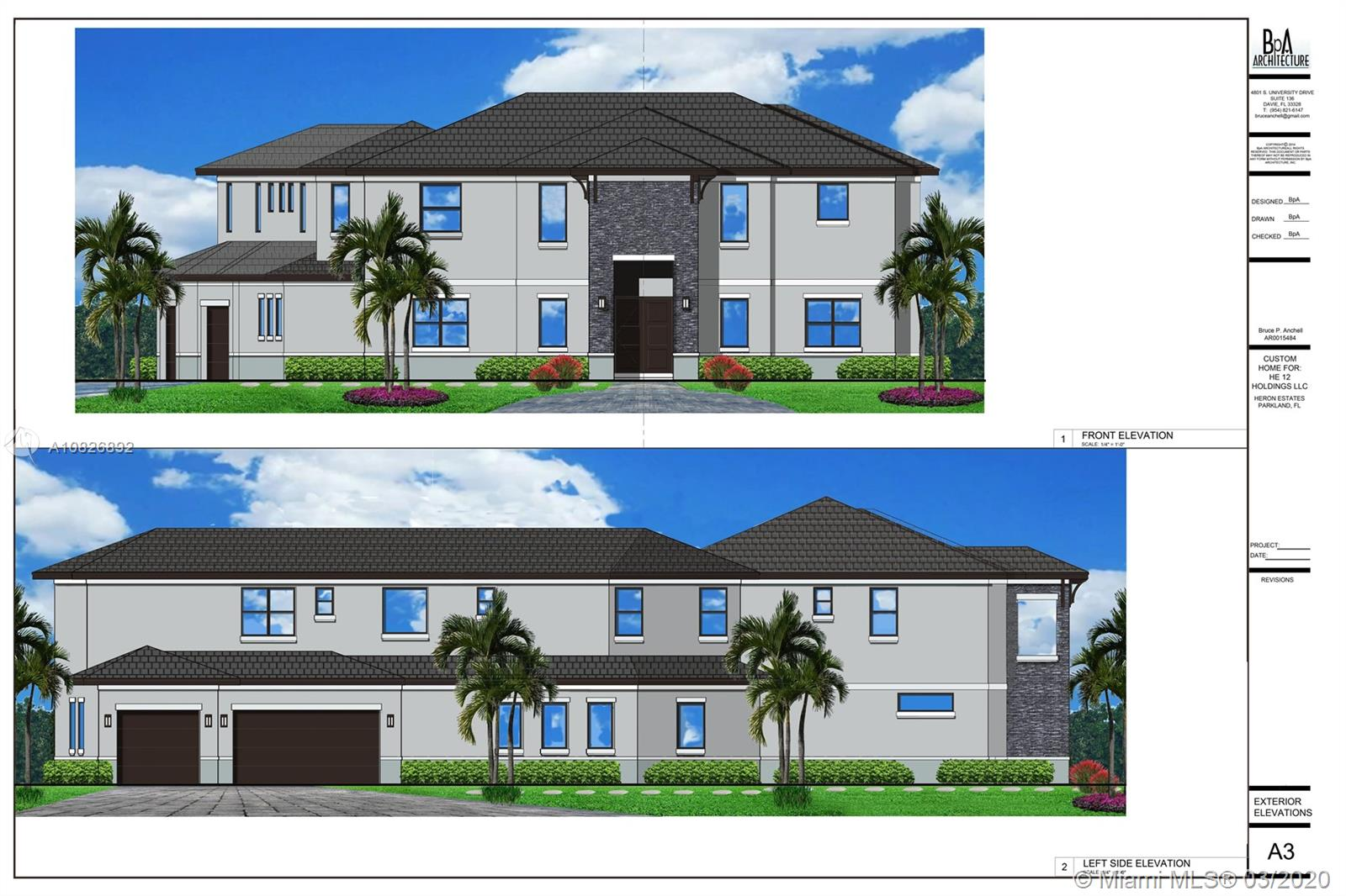 BUILD to SUIT your HOME in Parkland!!! - CUSTOM NEW CONSTRUCTION IN EXCLUSIVE HERON ESTATES @ HERON BAY PARKLAND. OVERSIZED CORNER LOT 18,134 SQFT.  - 5,089 SQFT UNDER A/C - TOTAL - 6,572 SQFT - 6 BEDROOM 7.5 BATHS - HOME OFFICE - ENTERTAINMENT ROOM - 3 CAR GARAGE - IMPACT RESISTANT WINDOWS & DOORS - POOL & OUTDOOR SUMMER KITCHEN - CONTEMPORARY DESIGN - HIGH END FINISHES ACCORDING TO BUYER'S TASTE - LUSH LANDSCAPING - FULL SET OF PLANS AVAILABLE FOR REVIEW - GREAT OPPORTUNITY TO OWN BRAND NEW CONSTRUCTION IN HIGHLY SOUGHT AFTER PARKLAND - GREAT SCHOOLS.