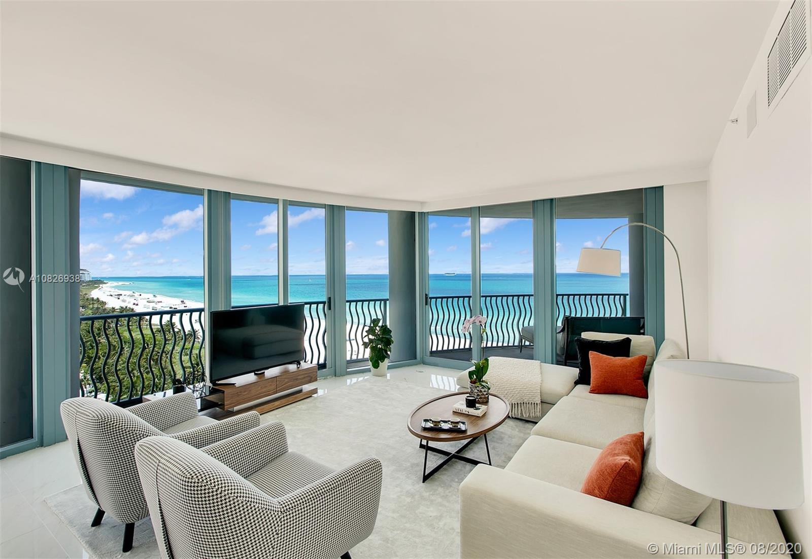 Direct Ocean beauty! Best exposure, corner residence & floor plan at the boutique Oceanfront Michael Graves with luxurious amenities including beach services, newly renovated spa/gym and pool, 24 hours security & valet. Walking distance to all the excitement in South Beach, generous terraces, fantastic floor plan and uninterrupted ocean views. Over 2300 sq. ft, 3 Beds + Den, 3.5 Baths and 2 parking spaces. New contemporary renovation, superb upgrades with exquisite décor and friendly services & atmosphere makes this a winner. Come make each day a BEACH DAY! A MASTER BROKER PROPERTY