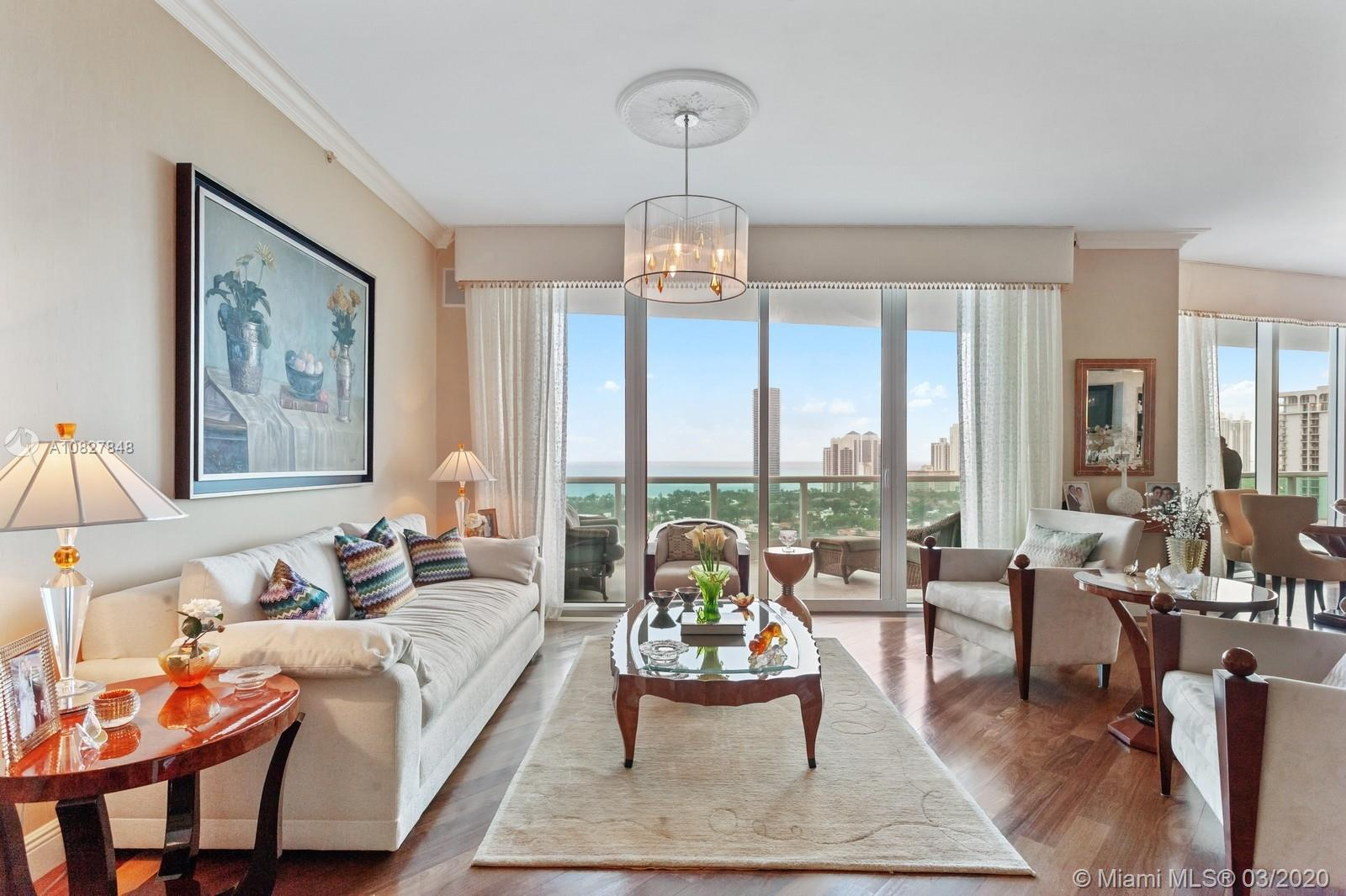 Magnificent condo in the heart of Aventura, featuring over 5100 SF with 6 bedrooms and 6.5 baths, this palace in the sky has gorgeous views of the golf course, city and ocean. The residence features hardwood flooring, beautiful lighting fixtures, and design details throughout.  Live in Porto Vita, Aventura's most luxurious gated community.  A must see, easy to show! Building amenities include restaurants, basketball court, gym, tennis, spa facilities, and children's playground.