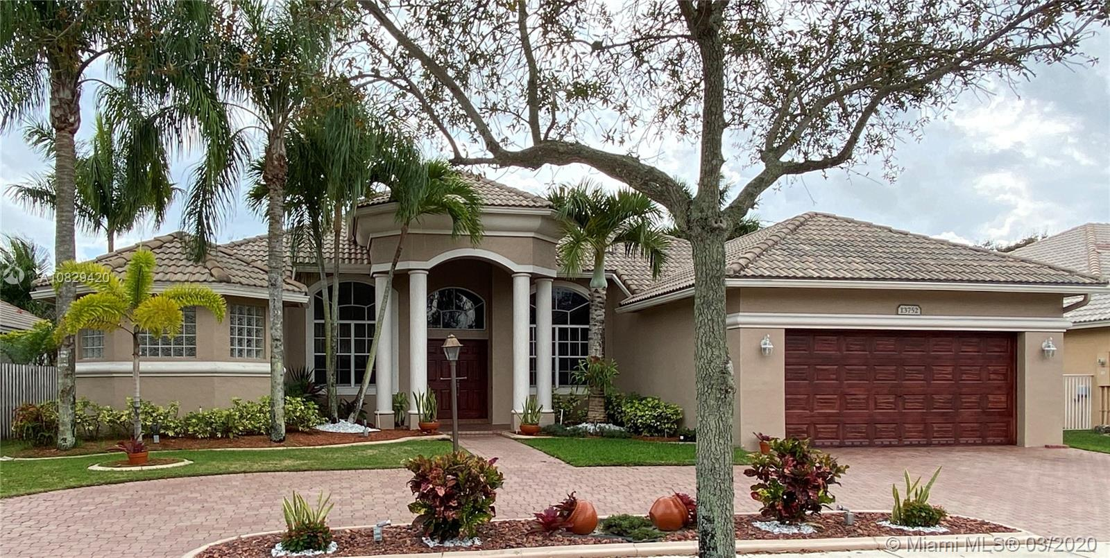 SOUGHT AFTER MONTERREY MODEL LOCATED IN THE DESIRED COMMUNITY OF PEMBROKE FALLS. THIS ONE STORY,  4 BEDROOM PLUS STUDY HOUSE, IS A SPECTACULAR HOME FOR A FAMILY HAS MANY UPGRADES IN THE KITCHEN INCLUDING NEW STAINLESS STEEL APPLIANCES AND UPGRADES IN THE MASTER BATHROOM.  HOME WAS RECENTLY PAINTED, INCLUDING WOOD IMITATION ACCENT AT GARAGE AND MAIN DOORS.   THE CIRCULAR DRIVEWAY AND TWO CAR GARAGE PROVIDES AMPLE PARKING ROOM FOR A GROWING FAMILY.  OWNERS RECENTLY REPLACED ALL KITCHEN APPLIANCES, THE WASHER AND DRYER, AND THE AC UNITS.  HOME HAS NATURAL GAS FOR STOVE, H2O WATER HEATER, BARBEQUE GRILL, AND GAS LAMP AT FRONT OF PROPERTY.  