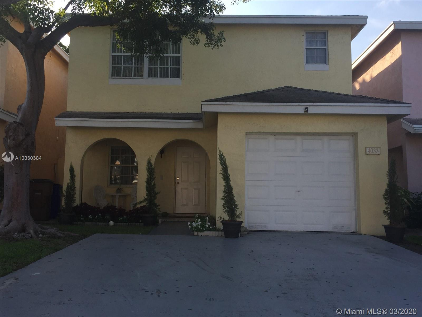 Beautiful bright, spacious 2 story single family home in the quiet Eastridge neighborhood with 3/2.5 Baths on Large lot. This beautiful property was completely redone and features; One covered car garage plus space for 4 more in front, Florida and Dining Room; New Kitchen Cabinets & Stainless Steel appliances, Washer and Drier Inside, Tile Throughout first floor and Laminated on Second. All Hurricane Shutters, Large spacious backyard with covered area for barbecue and get together with friends and family. Nice and quiet community with plenty of Guest Parking, Pool and very low maintenance, Walking distance to Rail Road Train Station, Major roadways, Supermarket, Banks, Restaurants, casinos and shopping malls. House is rented month to month, Great for Investors and high demand for rentals!