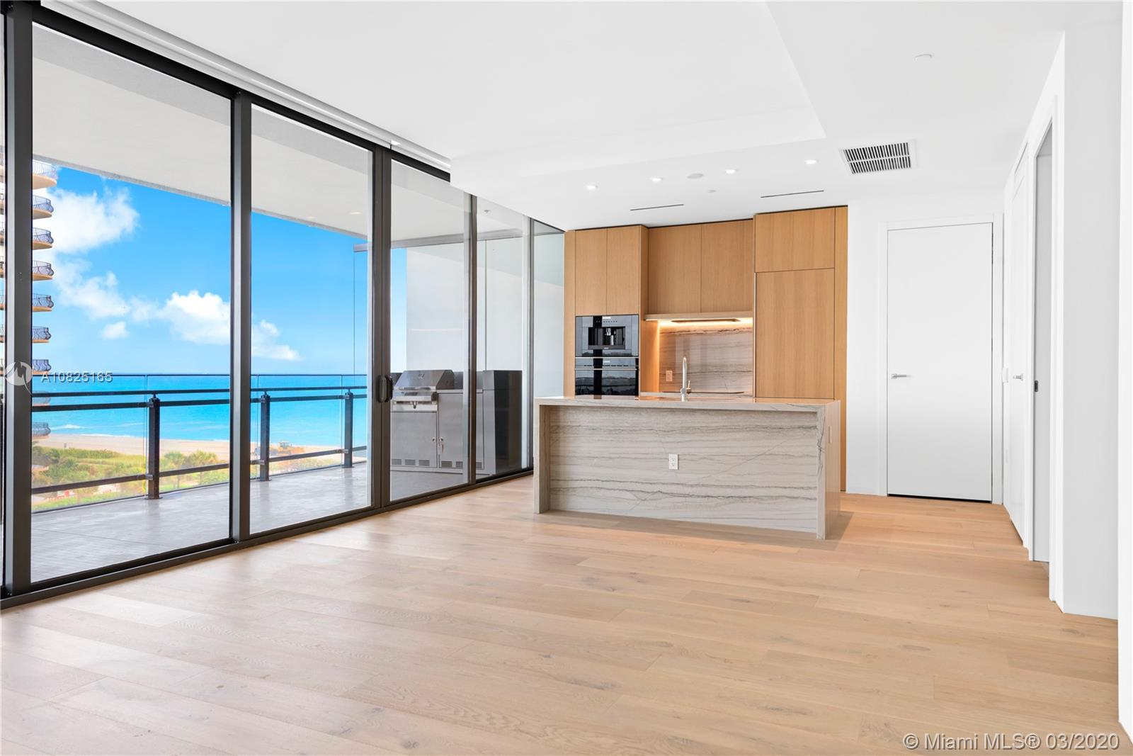 Expansive 1-bedroom 1.5 bathroom residence with over 1,000 sq ft at Renzo Piano's spectacular 87 Park in Miami Beach. Gorgeous Ocean and Beach views from bedroom, living and dining room. Telescopic patio doors that open wide to the deep, oversized  terrace with summer kitchen.  Look down over the private 2-acre park. French oak wood floors with natural stone floors/walls in the bathroom.  Wolf & subzero appliances, natural stone kitchen island countertop & back splash. 87 Park offers hotel-like service by its professional staff.  Amenities include Botanical Garden, Enoteca and Fugo Bar managed by Toscana Di Vino, 2 pools, gym+spa, Hamamm and private park