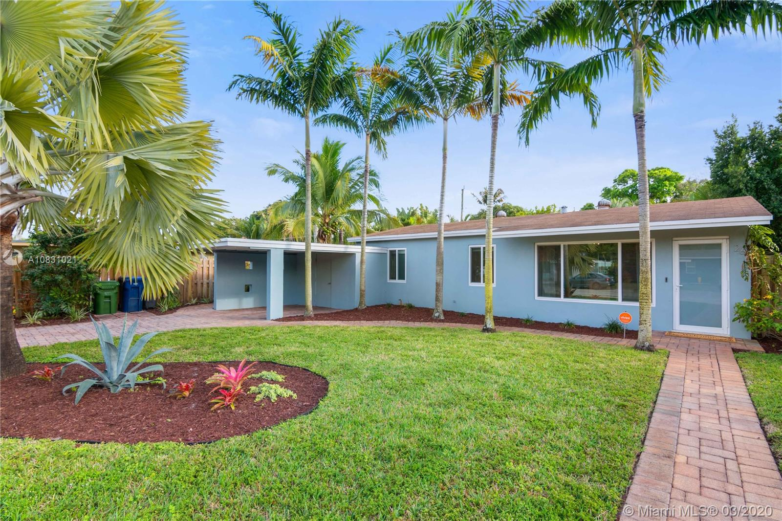***SQUARE FOOTAGE IS ACTUALLY 1057*** Mid century modern home in a quiet cul de sac in beautiful Wilton Manors. The home is completely remodeled with an open floor plan, modern kitchen and marble guest and en-suite bathrooms. Spacious interior, 3 beds, 2 baths. Site offers a large, private backyard with swimming pool and deck with shower. New impact windows and doors, new central a/c, refinished original terrazzo floors, and state of the art kitchen appliances. Carport with washer and dryer and room for extra storage. Sprinkler system ran by well not public water! Located within close distance of the shops, restaurants and entertainment district of Wilton Drive.