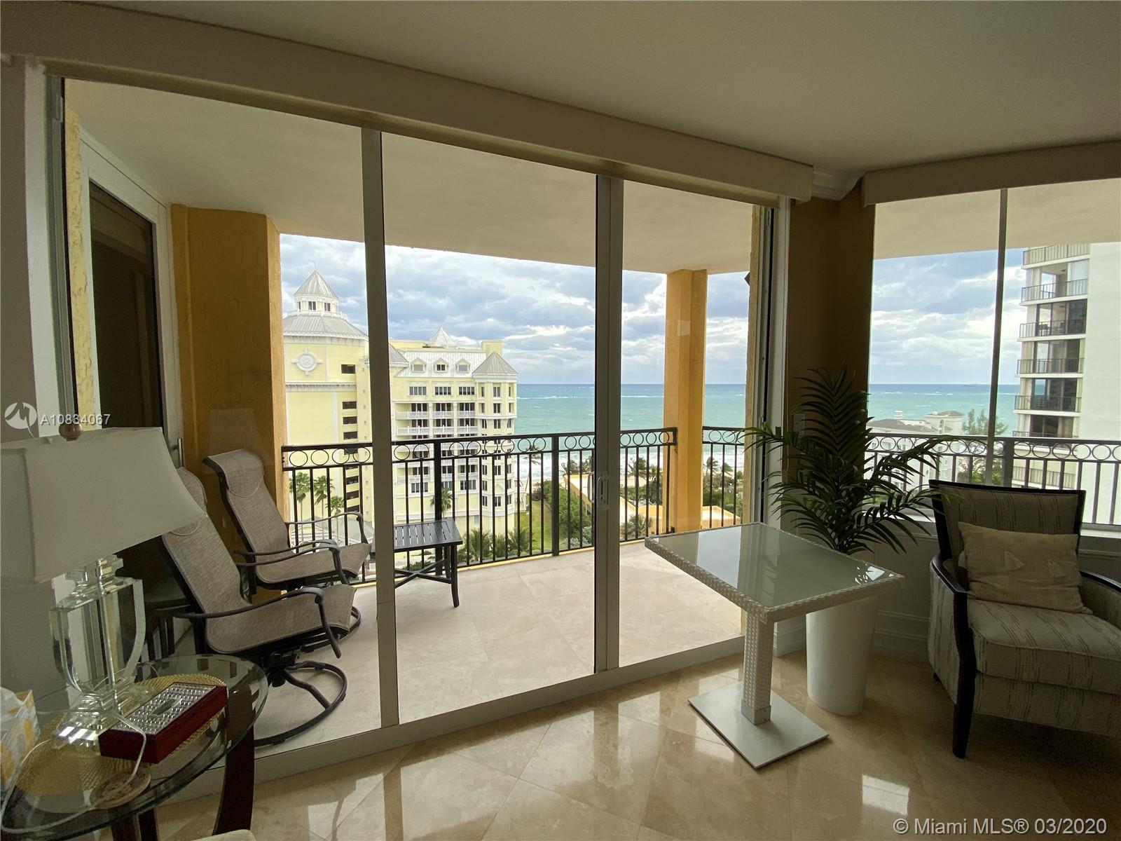 3 bedroom direct ocean condo in Ft. Lauderdale Beach. Split floor plan, marble floors and carpet in bedrooms. Balcony's from each bedroom suite, and large wrap around balcony for direct ocean, & intercostal views. The Vue is a luxury condo with private beach club access, 2 pools and spas, valet parking, and pet friendly. Excellent location near restaurants and shops. New lobby, fitness center and more. Great value for spacious 3br with direct ocean views.