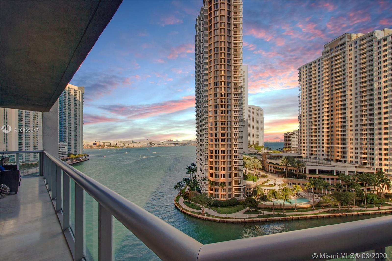 COMPLETELY UPGRADED 3 BED CORNER BAY UNIT AT ICON BRICKELL. UNIT SITS DIRECTLY OVER THE MIAMI RIVER GIVING IT A UNIQUE FEEL WITH DIRECT BAY AND RIVER VIEWS OF BRICKELL. UNIT HAS BEEN COMPLETELY UPGRADED WITH HIGH END FINISHES SUCH AS MARBLE FLOORING, DROP CEILINGS, BUILT IN BAR & CUSTOM CLOSETS. THIS IS A MUST SEE.