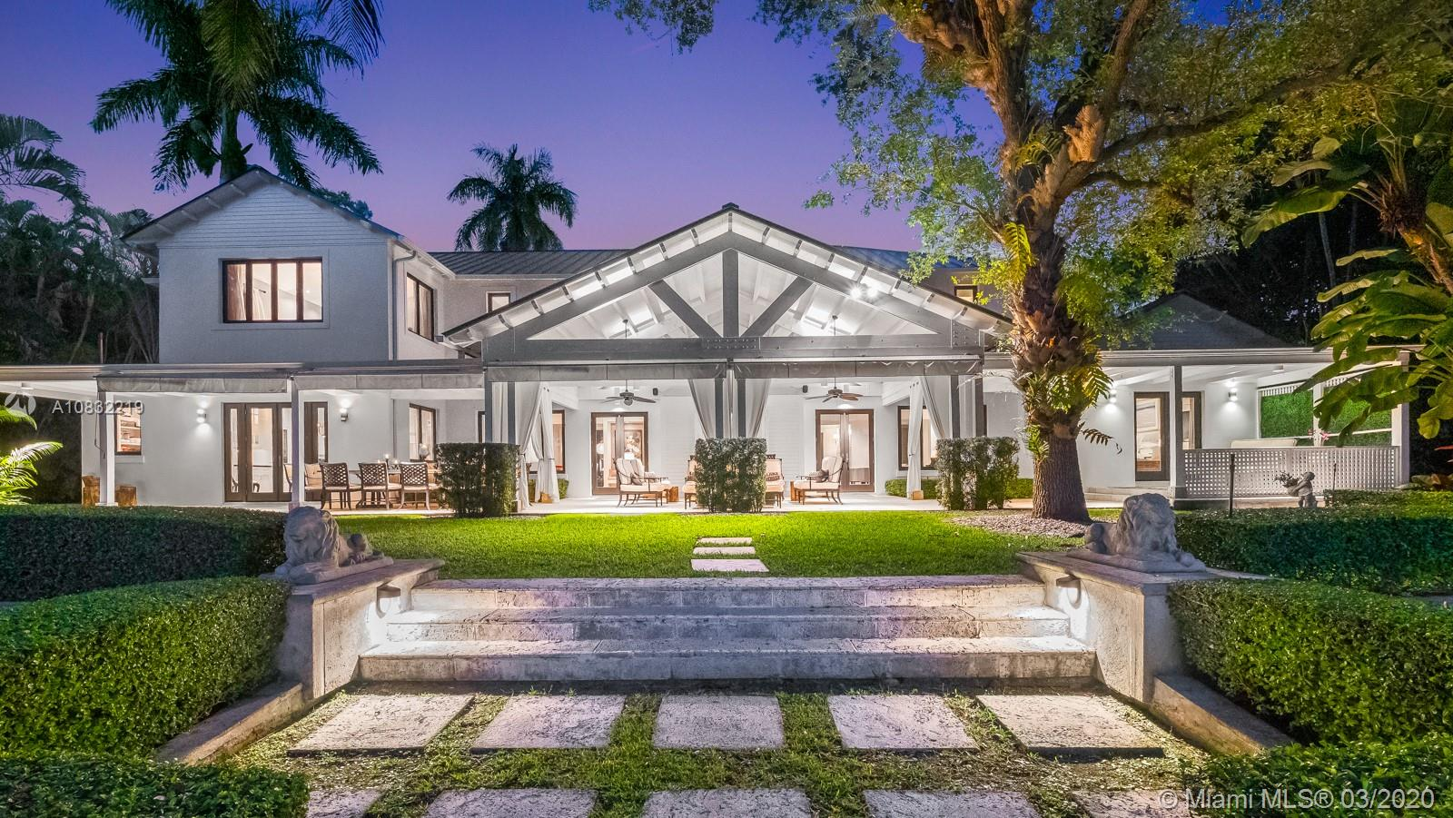 Incredible lakefront property in desirable gated Hammock Lakes community in Coral Gables. Stunning and impeccably updated 9,522 Total SF, 6BR/7+1BA home sits on breathtaking 51,054 SF lot. The home benefits from wonderful entertaining areas and spectacular views of the tranquil lake throughout. A covered terrace spans the entire back of the house and opens to a beautifully landscaped yard, with large pool with cabana bath, and leads directly to the lake. Hector & Hector chef's kitchen with Wolf and Subzero appliances, gas stove and large island. First floor features 2 entertaining rooms, family room, 2 guest suites and office/maid quarters. Upstairs offers primary suite +2 additional bedrooms. Three car garage, 1/2 basketball court & convenient location for shops, restaurants and schools.