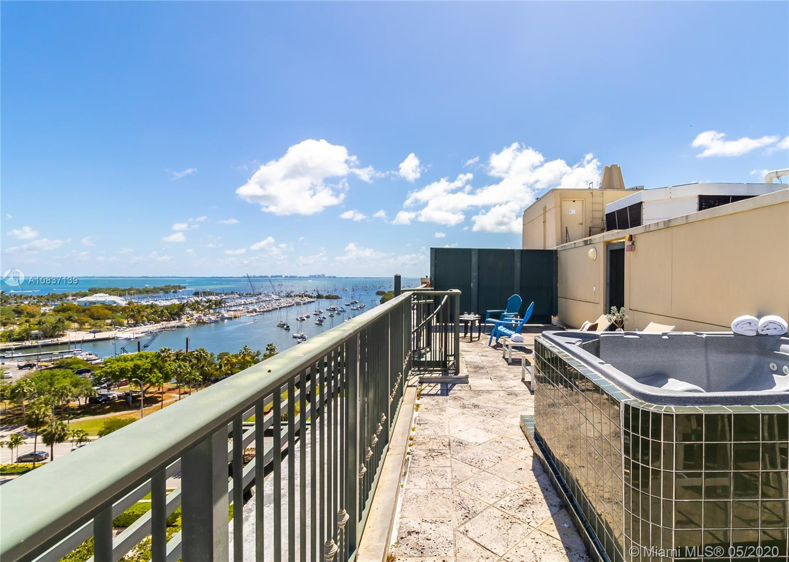 Amazing location in the heart of Coconut Grove, facing the Bay and the Marina, a block from CocoWalk shopping, movies, and restaurants. This fully furnished 2-bedroom penthouse comes with a private rooftop terrace with great city and ocean views. The building offers a bar, heated pool, gym, sauna, and all the service\ of a luxury hotel. The unit can be rented for short term rental. No minimum rental restriction or application process, perfect for a vacation home or as an investment property. Video Tour Included