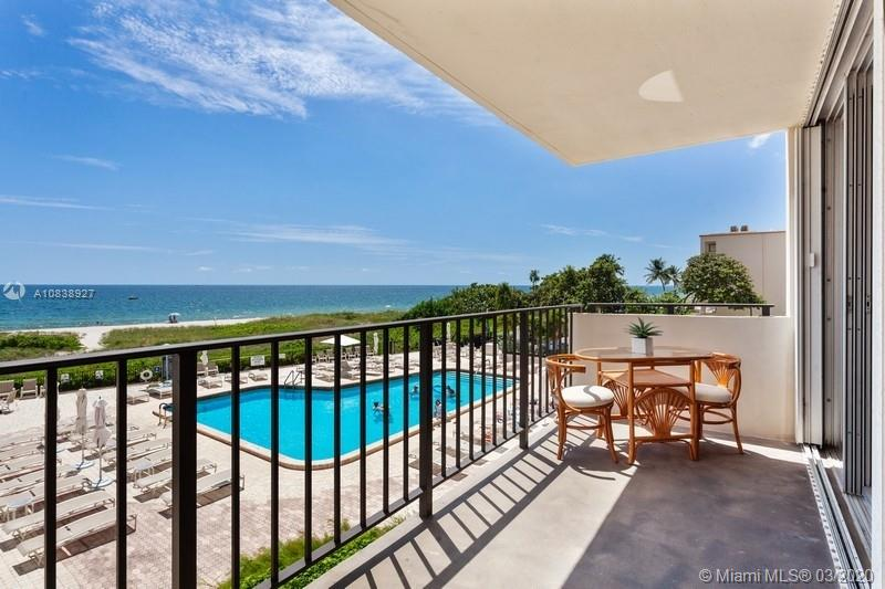 Beach Life at its best! This SE corner unit offers breathtaking direct Ocean views. Beautiful and fully furnished two bedroom two bathroom with 1 assign covered parking. Resort style living, beautifully maintained pet friendly building with 24 hour concierge service & complimentary valet. Amenities include, fitness, center, social room with caterer's kitchen, billiard room, sauna, theater, library, heated pool, BBQ, picnic area and direct beach access. Maintenance includes AC, Cable, Pest Control, Water & Complimentary valet. Seasonal rental allowed twice a year.