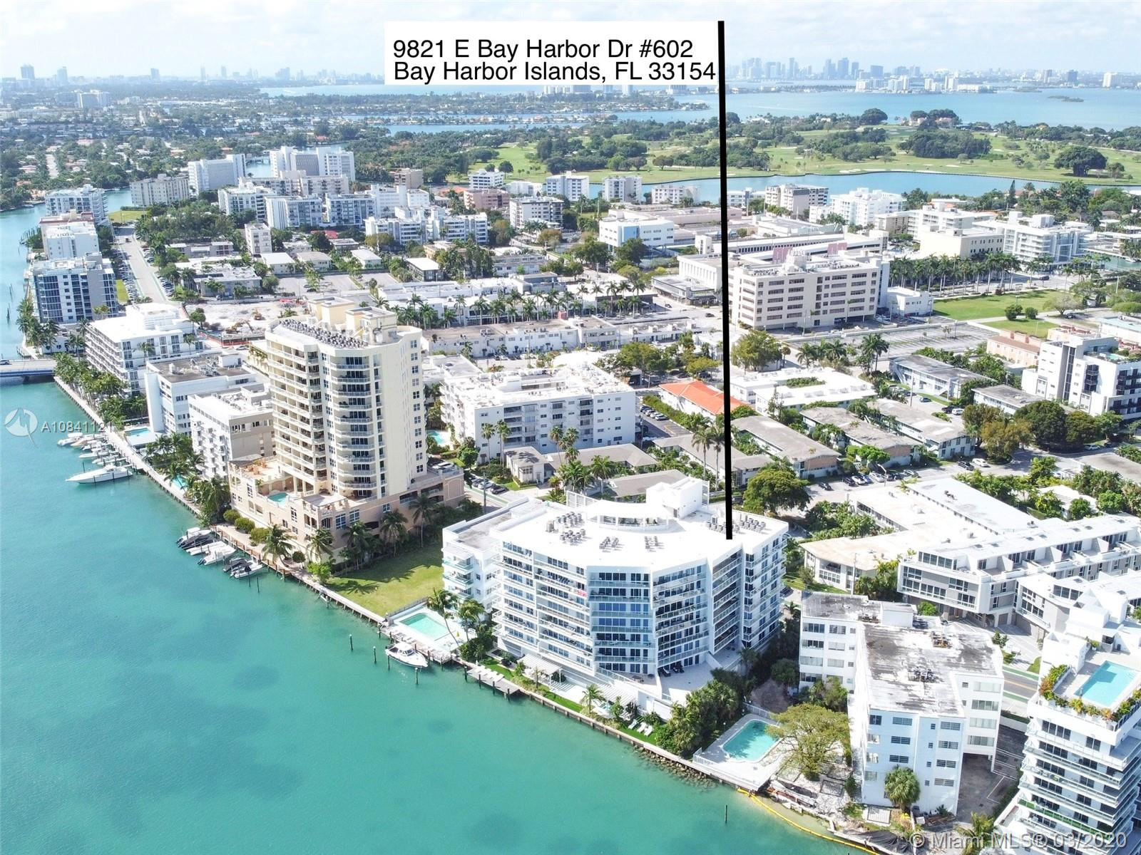 Luxury boutique building on the intracoastal in sought after Bay Harbor Islands. The interior is beautifully furnished in a clean contemporary style, relaxed with amazing views of the intracoastal waterway from a wide curving balcony, floor to celling windows and sliding doors, kitchen and bathrooms fitted with European cabinetry and quartz countertops, marble floors in the bathrooms. The building boutique style offers on the third floor deck zero edge sunset pool with boomerang shape infinity Hot-Tub and cascading waterfall, fitness facilities, steam room and showers, also Bay Front water deck, Hot-Tub and Summer Kitchen, water sports such as paddle boarding and kayaking. Unit come with Storage