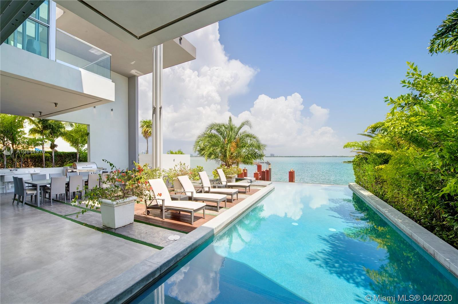 Luxury modern waterfront home on Venetian Islands with soaring ceilings and walls of glass taking in the magnificent wide bay views in every direction! Features include open floorplan, lavish master suite, walk-in closets, infinity pool, and IPE dock. Rooftop terraces and 60 feet on the water. Fabulous water views and large covered outdoor entertaining area. Available for a minimum of three days and also available for weekly rentals. Call for rates. $45,000 FOR ANNUAL RENTAL ONLY.