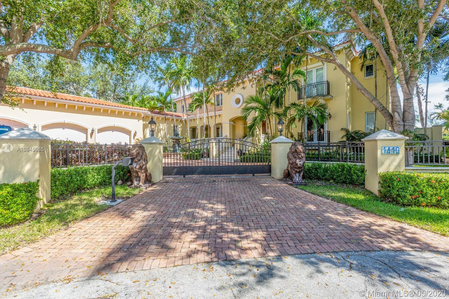 Magnificent 6BR 6.5BA residence on a Cul-De-Sac in exclusive gated community of Gables By The Sea. Grand foyer has grand chandelier & stately stairs case. State of the art kitchen + Breakfast Rm. Wet Bar with wine cooler & ice maker. Also includes master suite, library, family room & maids qtrs. Wired for security fire, alarm, &includes phone system. Speakers, central Vacuum system, lush landscape with pool & Sundeck. 254' concrete Sea Wall. No Ocean Access, pool, gazebo, laundry room, 3 car garage. Impact windows and doors. Impeccable property