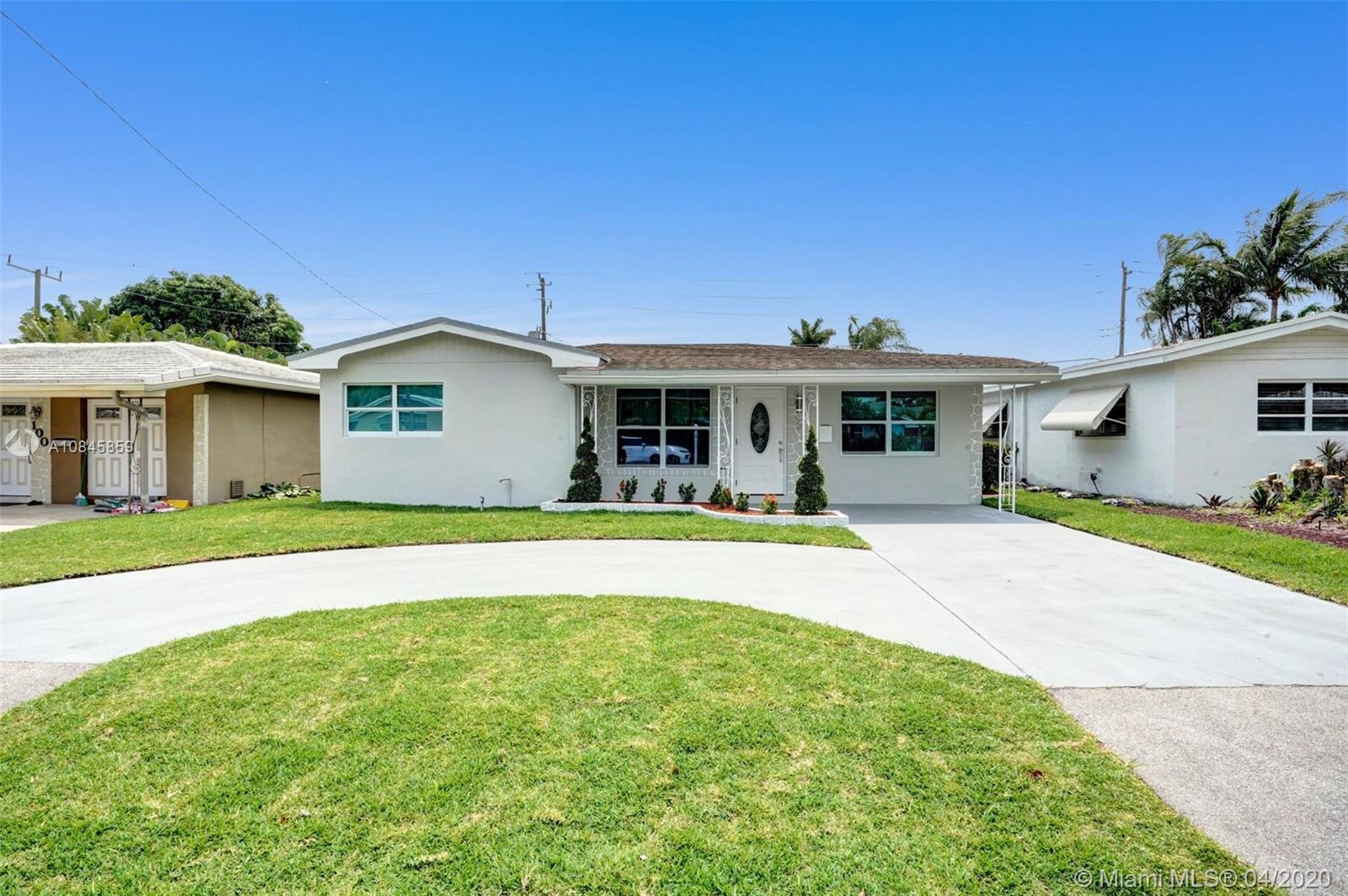 BEAUTIFULLY FULLY REMODELED 3/2 HOME IN THE HEART OF OAKLAND PARK! PERFECT TURN-KEY STARTER HOME OR VACATION RENTAL OPPORTUNITY! HOME FEATURES ALL HURRICANE IMPACT WINDOWS AND DOORS, 2008 SHINGLE ROOF, 2009 A/C UNIT, NEW BATHROOMS, BRAND NEW WHIRLPOOL WASHER AND DRYER , SPRINKLERS SYSTEM WITH NEW GRASS. NEW CUSTOM KITCHEN WITH HIGH END EUROPEAN CABINETS, QUARTZ COUNTERTOP AND BRAND NEW STAINLESS STEEL APPLIANCES, RECESSED LIGHTING THROUGHOUT, LARGE BACKYARD NICE FOR ENTERTAINMENT OR TO BUILD A POOL, VERY LARGE AND SPACIOUS CIRCULAR DRIVEWAY, FRESHLY PAINTED INSIDE/OUT... MINUTES FROM SCHOOLS, BEACH, SHOPPING PLAZAS ETC.. HURRY THIS WONT LAST LONG!!