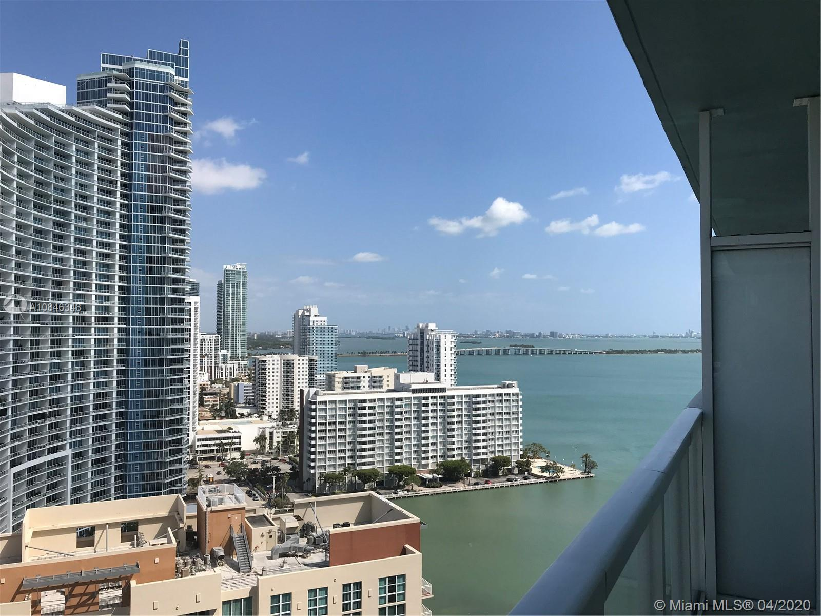 SPECTACULAR DIRECT EAST BAY VIEW FROM THE 23rd FLOOR, ONE OF THE BEST LINES IN THE BUILDING, 2 BED/2.5 BATH WITH INCREDIBLE VIEWS OF SOUTH BEACH, MIAMI SKYLINE & CITY VIEWS. FLOOR TO CEILING WINDOWS, MARBLE THROUGHOUT, BEAUTIFUL EUROPEAN STYLE KITCHEN WITH GRANITE COUNTER-TOPS AND STAINLESS STEEL APPLIANCES. RENTED FURNISHED. ENJOY ALL THE AMENITIES THAT THIS BUILDING OFFERS: STATE OF THE ART 2 STORY GYM, 2 POOLS, HUGE ENTERTAINMENT PARTY ROOM WITH BAR AND KITCHEN, SPA SAUNA & STEAM ROOM, MOVIE THEATER, BUSINESS CENTER.