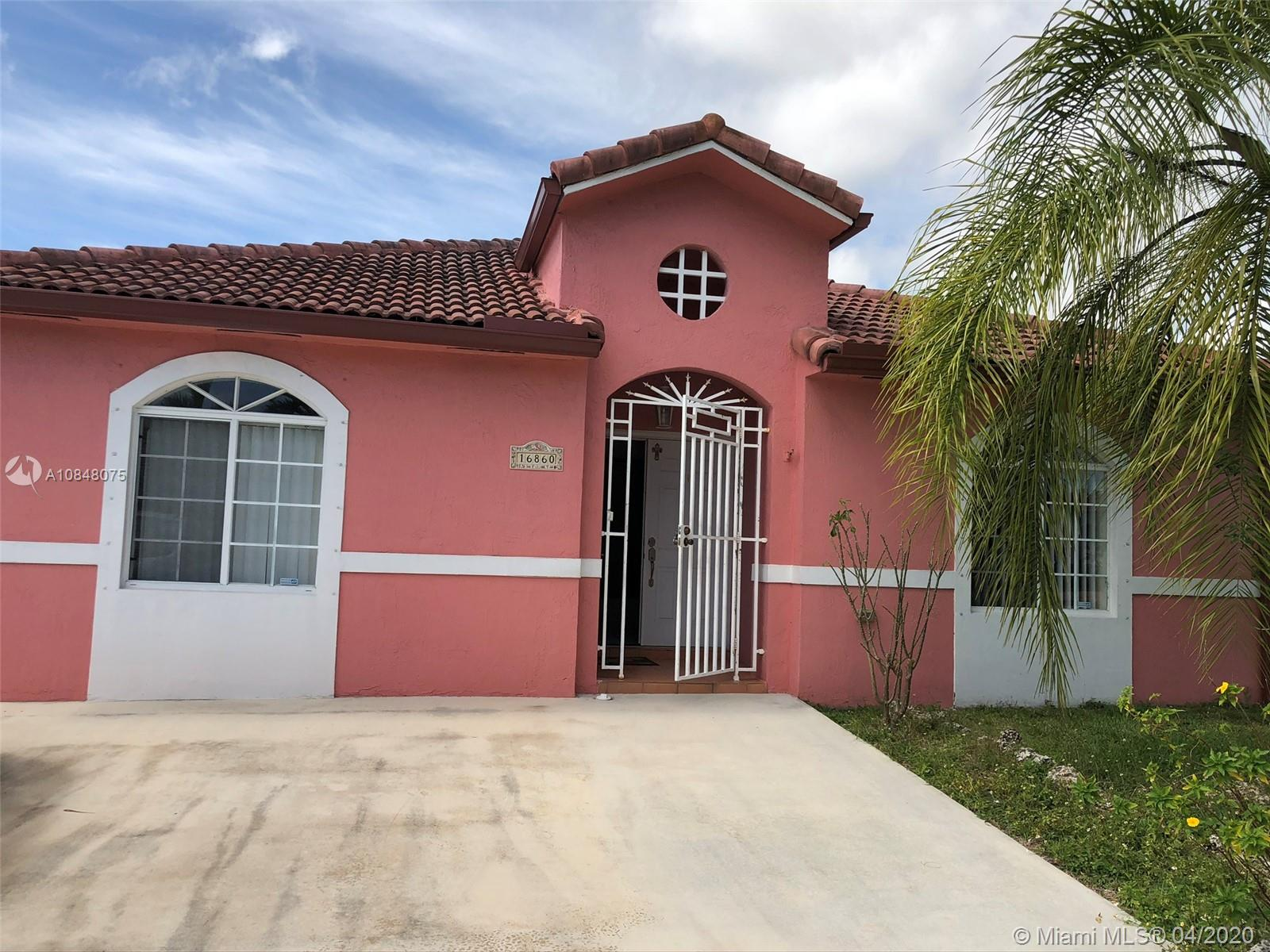 Beautiful Single Family Home with 3 Bedrooms, 2 Bathrooms, and No HOA  in a very desirable neighborhood. This house features a formal living, dining and family room, large master bedroom, with walk-in closet, accordion shutters, beautiful Kitchen with stainless appliances, that overlooks the family room with sliding doors  that open onto the covered terrace in the back yard, tile throughout the house.