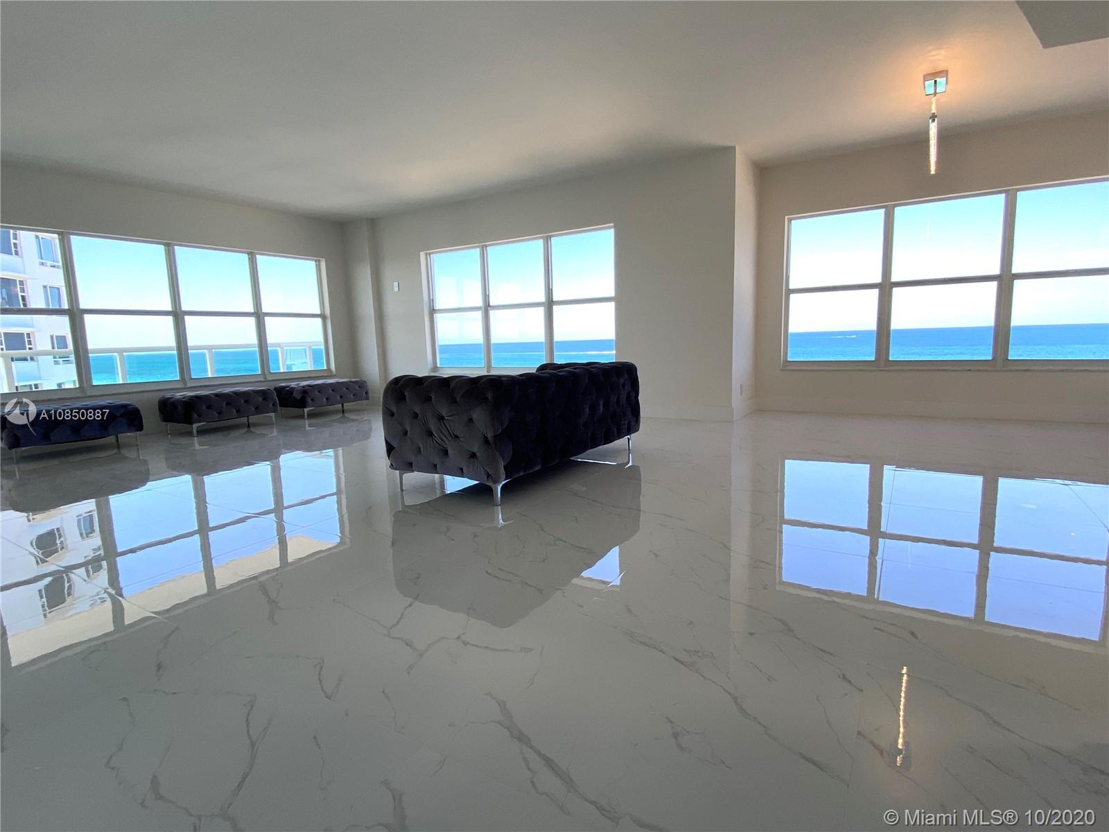 A Must See!!! One of A Kind. PANORAMIC stunning FRONT ocean views from this 9th floor 3 bedroom, 2.5 bathroom luxurious FULLY RENOVATED unit equipped with OPEN EUROPEAN KITCHEN with nice countertops, brand NEW APPLIANCES and NEW CARRARA PORCELAIN TILE FLOORS throughout the unit. BALCONY recently Updated. IMPACT Windows. 2 GARAGES. 2115 sqft just ready to enjoy it !!