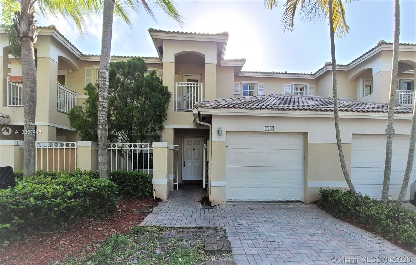 OWN THIS GREAT TOWNHOME IN ONE OF THE BEST COMMUNITIES OF PEMBROKE PINES. Live the resort style of Pembroke Isles or make your investment count in an easy to rent property. Three community pools, children playgrounds, tennis and basketball courts, plenty of green space for jogging and walking in a quiet environment. This well maintained townhome features 3 bedrooms, 2 1/2 baths, one car garage (converted to a 4th bedroom, can easily be used as a garage again). One car space in driveway and plenty of additional parking spaces available in front of the property. MUST SEE!!