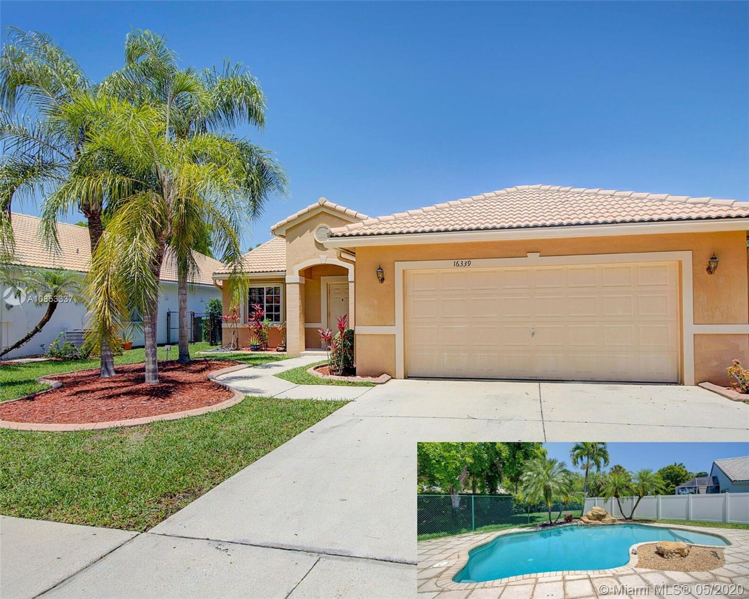Highly Desirable 3 bedroom/2 bath Home w/Swimming Pool and 2 Car Garage In a Great Neighborhood with Top Schools in Pembroke Shores.  Designed As a Split Bedroom Floor Plan w/Vaulted Ceilings, a Formal Living, Dining Area & Family Room. Kitchen is Open to Family Room w/Pool view. Foyer Entry, New Washer/Dryer, Accordions Shutters Protection, Stove Pavers on the Driveway, Walkway. Gated community w/Security, low association fee $154/month includes the Comcast Cable. 1854 sq ft adjusted & 1621 sq ft living area. Easy to show, make your appointment today.
