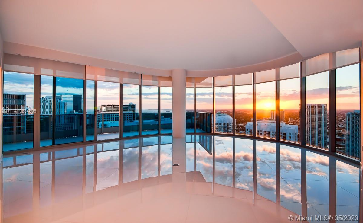 EXTRAORDINARY 3/3.5 BATH 2,502 SF PENTHOUSE, WITH 10' CEILINGS AND OVER-SIZED 597SF TERRACE.  UNOBSTRUCTED BAY AND CITY VIEWS DAY AND NIGHT WILL ENLIGHTEN YOUR SENSES. THIS CORNER UNIT W FLOOR-TO-CEILING WINDOWS GIVES YOU BREATHTAKING 280 DEGREES VIEWS OF MIAMI BEACH, BRICKELL, KEY BISCAYNE, SOUTH & DOWNTOWN MIAMI. WHITE GLASS TILES GIVES YOU THE PEACE AND TRANQUILITY YOU DESIRE, UNIT FEATURES OVERSIZE MASTER BEDROOM W CUSTOMIZED HIS AND HERS CLOSETS, ELECTRICAL WINDOW TREATMENTS, RECESSED LIGHTING, UPGRADED APPLIANCES. LUXURY HOTEL AMENITIES SUCH AS 5 STARS SPA AND GYM, IN ROOM SERVICE, 2 WORLD CLASS RESTAURANTS AND PIANO-BAR. 2 PARKING SPACES + VALET. ONE OF A KIND!!DO NOT MISS THIS INCREDIBLE OPPORTUNITY!! WALKING DISTANCE TO BRICKELL CITY CENTRE & BRICKELL.