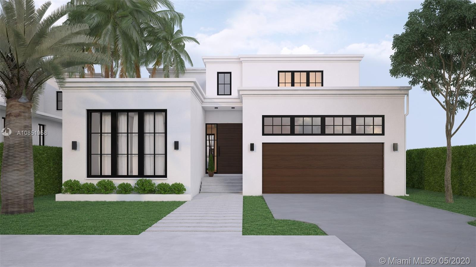 BRAND NEW 2020 CONSTRUCTION. Modern waterfront luxury home in beautiful gated Belle Meade. New seawall & dock, seconds to open bay w/ no bridges. Enjoy 5,283sf with 5br/4.5ba. Spacious light-filled living/kitchen/dining areas open to large covered lanai, summer kitchen, exterior courtyard, salt chlorinated pool w/ spa. 10.5' finished ceilings. Huge master suite features private covered balcony, massive 16x10 custom closet. True chef's kitchen includes full Subzero/Wolf appliances, huge island w/ built in table & plenty of storage in custom MIACUCINA cabinetry. Top quality impact windows/doors throughout. Permanent generator. Fully concrete roof. Attached 2 car garage with room for lift. A+ location, minutes from Miami Beach, Design District, Wynwood, Downtown & more. Delivery Summer 2020.