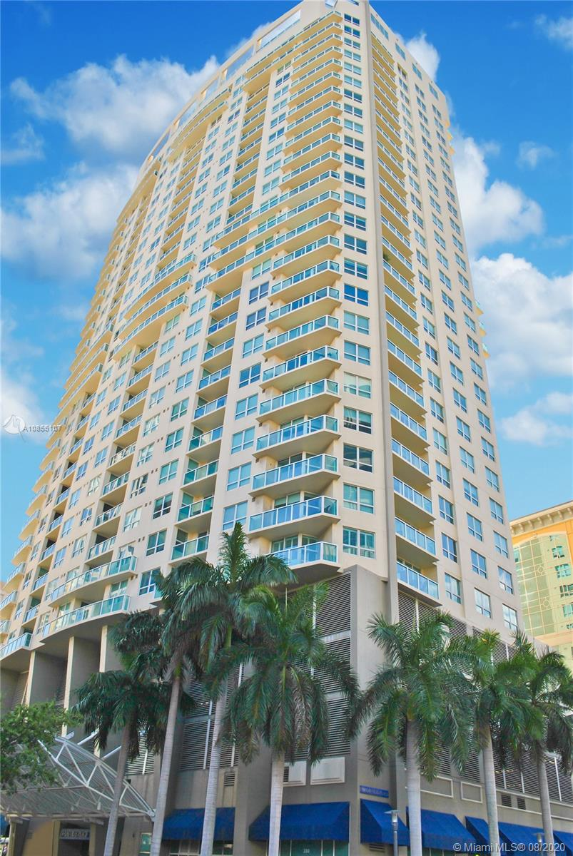 Enjoy Fort Lauderdale's skyline view in this 20th floor corner condo 3/2 unit at 350 Las Olas Place. Open floor plan. 2 private balconies. Impact windows & doors. Porcelain tile. Kitchen w/granite countertops & stainless steel. Master bath with dual sinks, Jacuzzi tub & large glass enclosed shower. Split bedrooms. Closets w/built-ins. Laundry room w/full-size washer & dryer. Separate storage area. 1 covered parking space. Full service building offering Infinity edge heated rooftop pool, gym, theater, business center, 24/7 valet, security & pet friendly park on site. Recently remodeled amenities. 2 pet max (under 50 pounds) allowed. Upgraded cable, Wi-Fi, hot water, trash & sewer included in mo. fee. Bike storage area on 1st floor. Less than 1 block from Las Olas (shopping, dining, etc.).