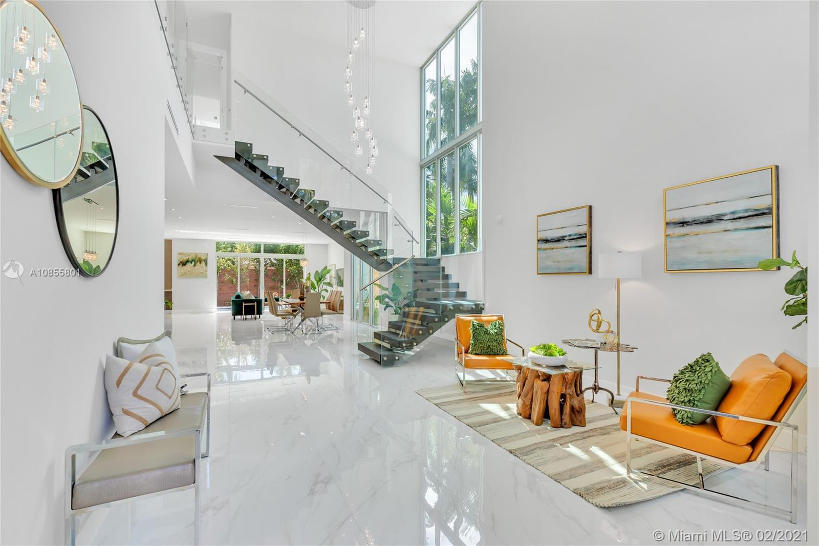 Be the first to live in this exceptional, brand-new modern masterpiece in North Coconut Grove. Custom-built to fit today's contemporary lifestyle, this 4 bedroom, 3.5 bath home features a beautifully-designed open floor plan with stunning floor-to-ceiling windows, gorgeous crystal chandeliers,  large chef's kitchen with state-of-the-art appliances,  and lavish pool area perfect for both retreating and entertaining. Master suite features a spectacular spa bath, custom closets, a study and private balcony. Additional features include high-impact doors and windows, an 8-ft privacy fence, security cameras, recessed lighting, floating steel staircase and concrete block construction throughout the entire home. Experience unparalleled luxury and comfort in the heart of Coconut Grove!