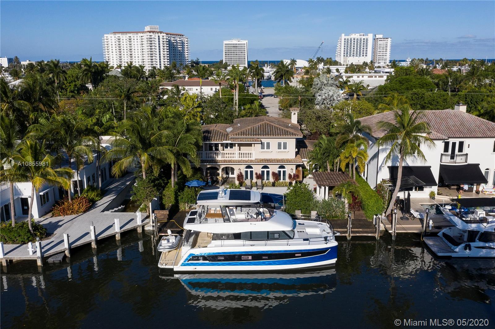 Walk to the beach and the restaurants from this desirable Las Olas Isles waterfront home in the Idlewyld community.  75ft waterfront renovated home in 2011 on a wide, deep water canal that can accommodate a boat up to 65 ft with a 30ft beam.  Direct ocean access with no fixed bridges less than 20 minutes to the ocean.  The only community in the Las Olas Isles with a security gate and nightly security patrol. Huge back yard with new pavers, built in gas grill and covered areas that make for great entertaining.  A true family home away from home, perfect for boaters, beach-goers and those who enjoy the walkable lifestyle.  This home is tastefully furnished by an interior designer.  (No master bedroom furniture)